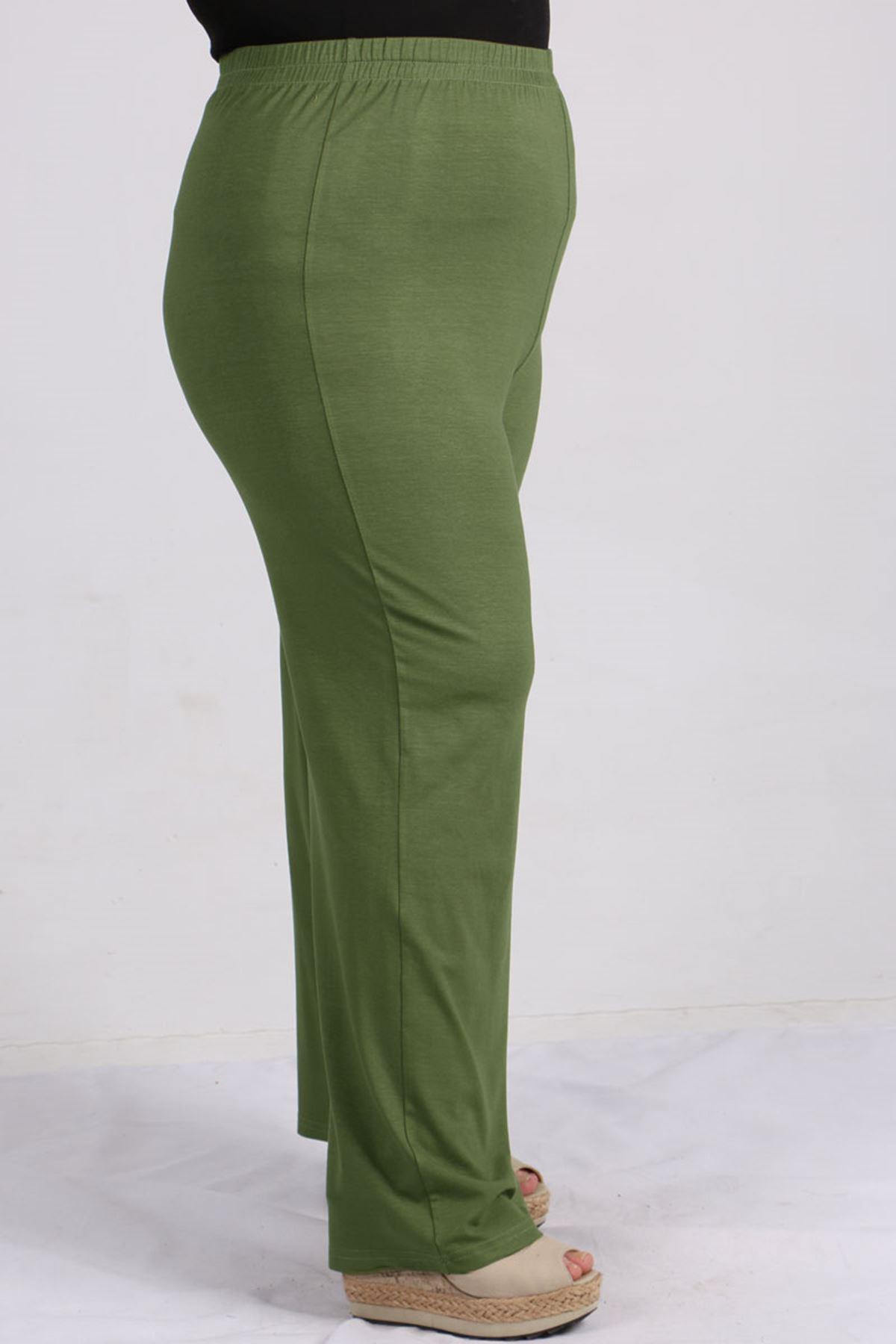 7700 Büyük Beden Penye Şeritli Pantolonlu Takım -Yeşil