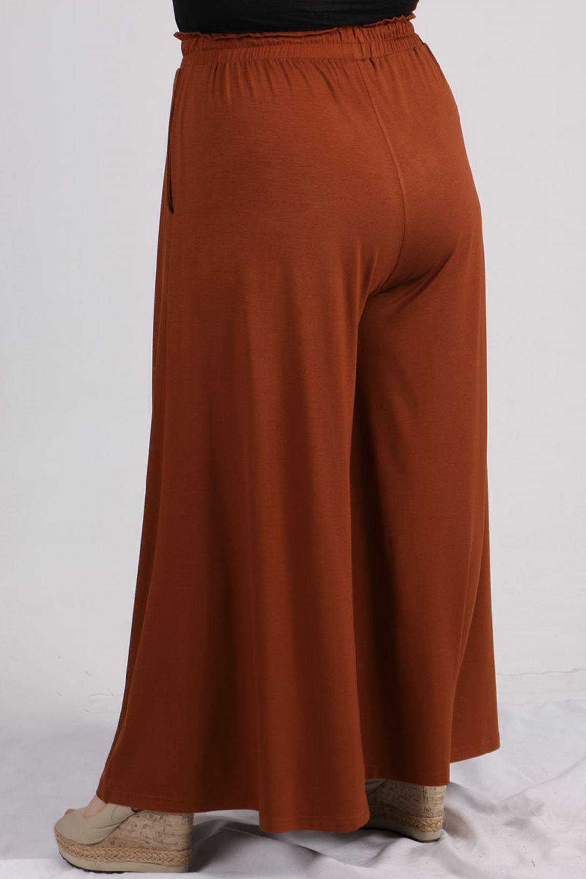 9079 Büyük Beden Penye Geniş Paça Pantolon - Kiremit