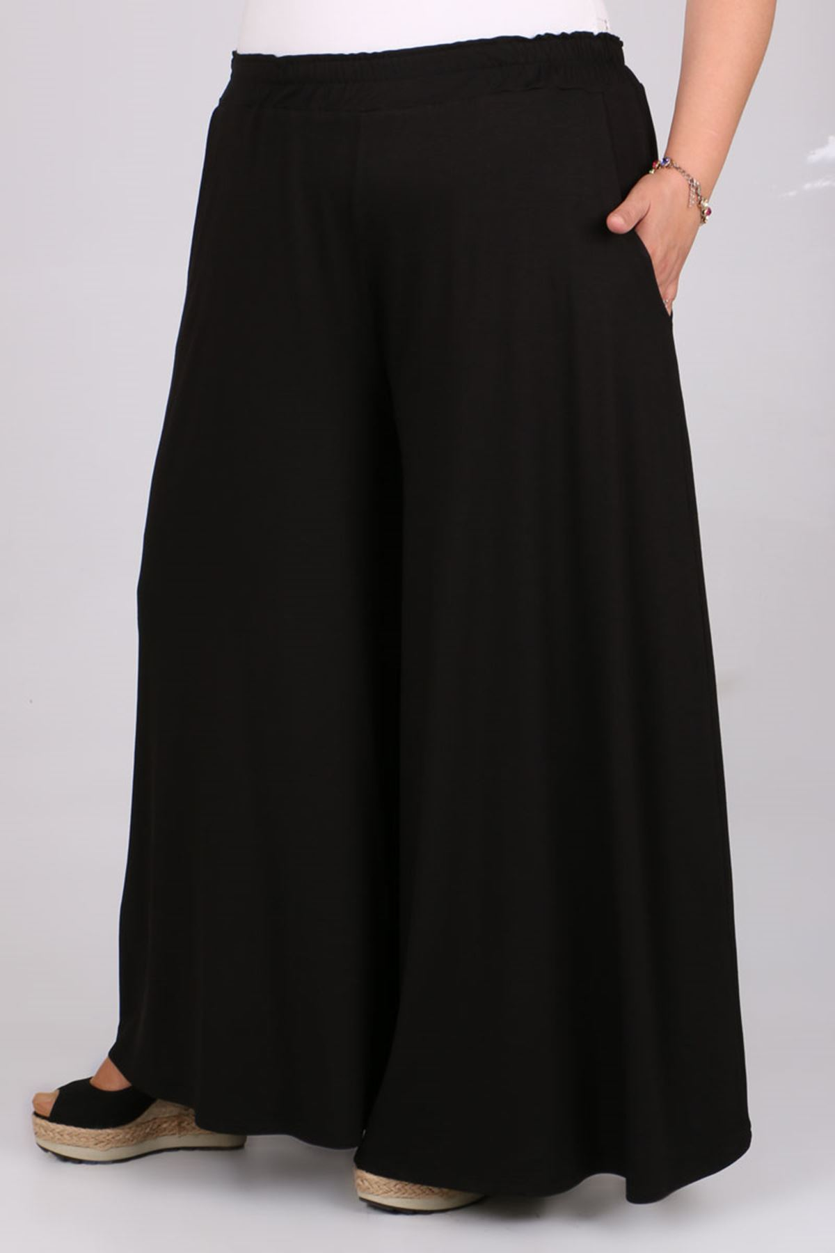 9079 Büyük Beden Penye Geniş Paça Pantolon - Siyah