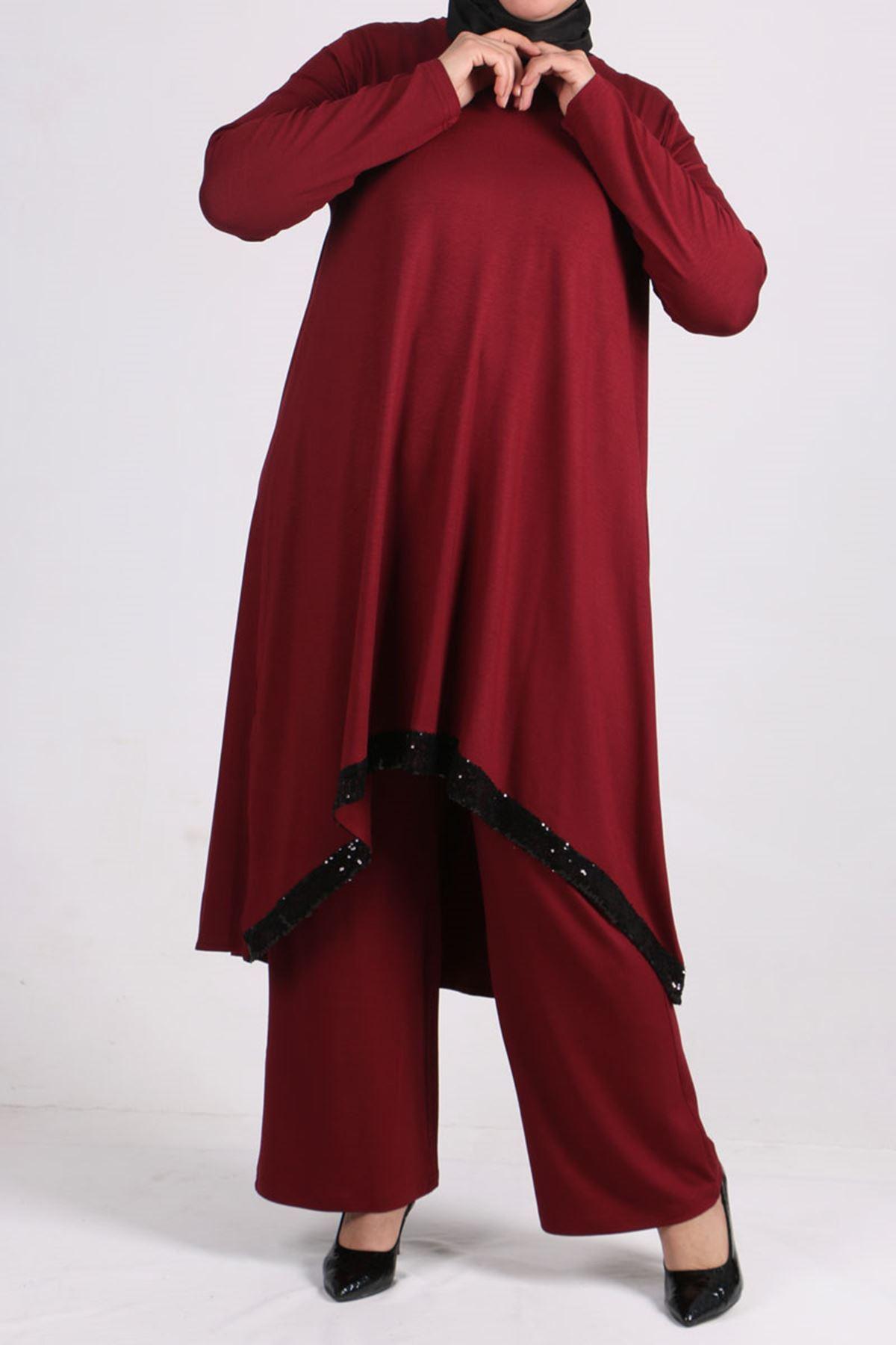 7598 Büyük Beden Pul Payetli Penye Pantolonlu Takım-Bordo