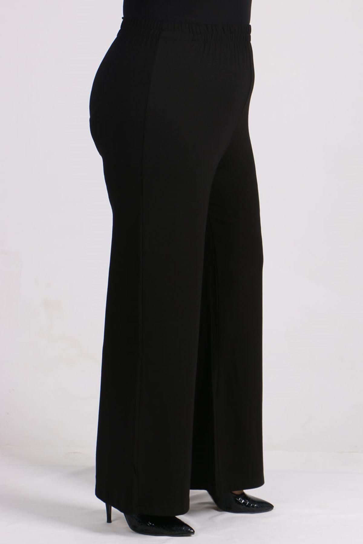 7526 Büyük Beden Penye Pantolonlu Takım-Siyah