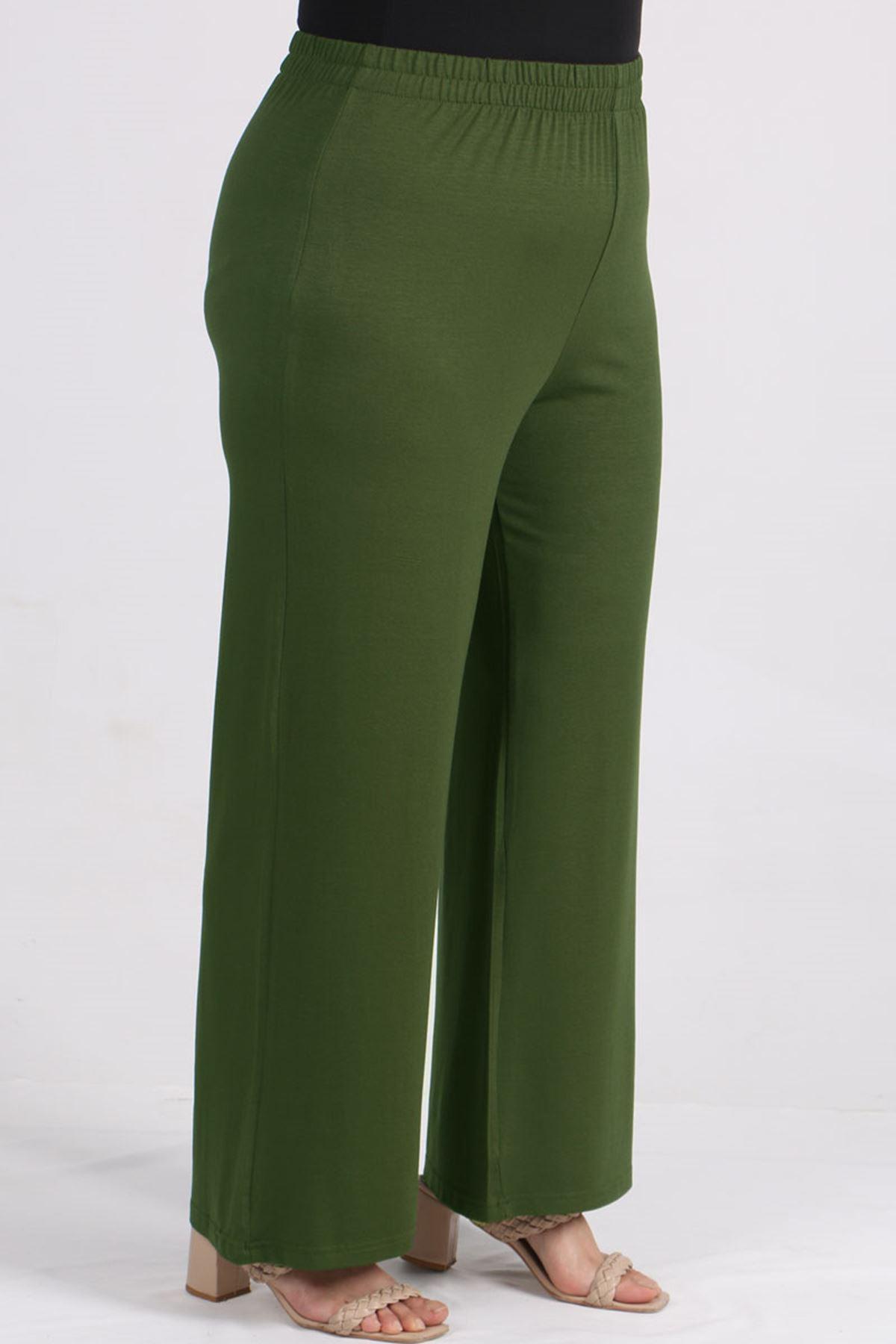 7526 Büyük Beden Penye Pantolonlu Takım-Haki
