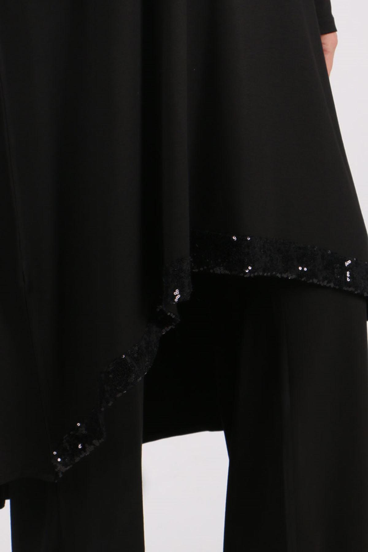 7598 Büyük Beden Pul Payetli Penye Pantolonlu Takım-Siyah