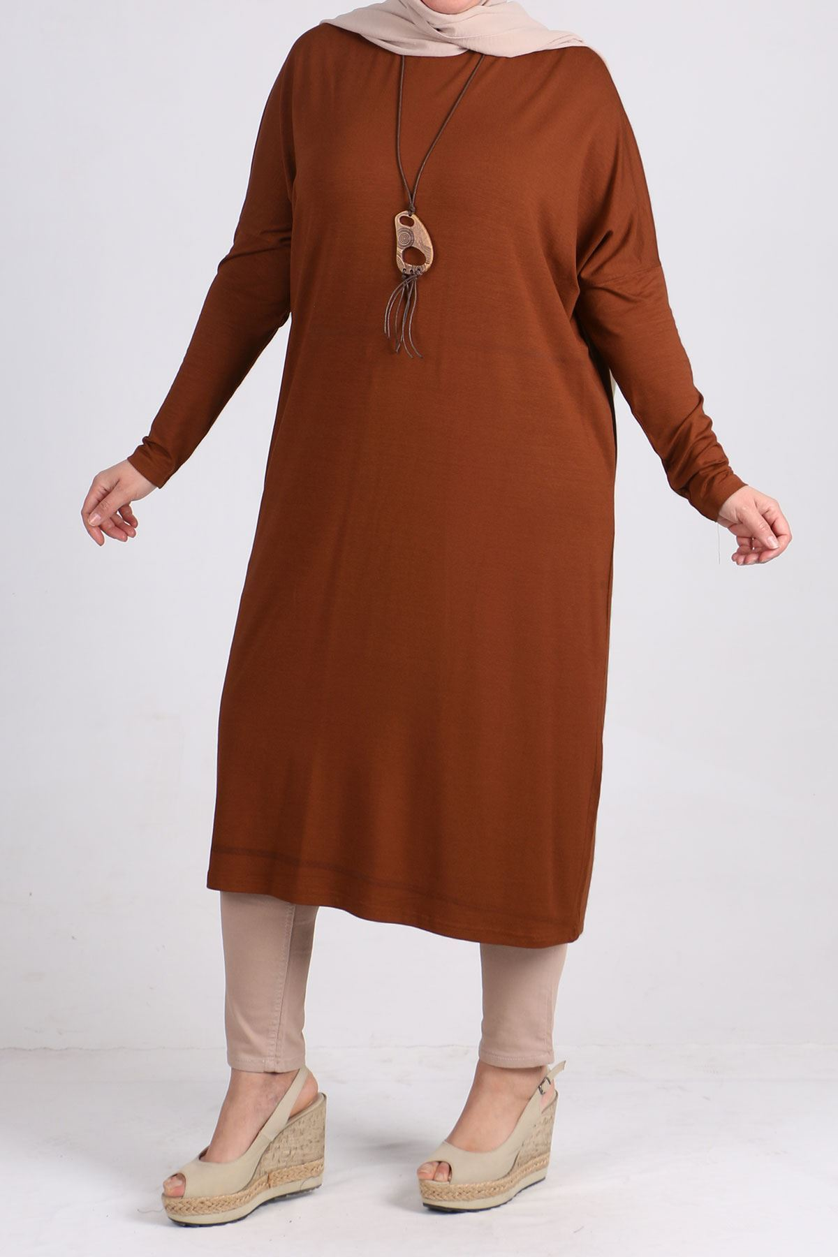 8240 Oversize tunic with low sleeves - Terra Cotta