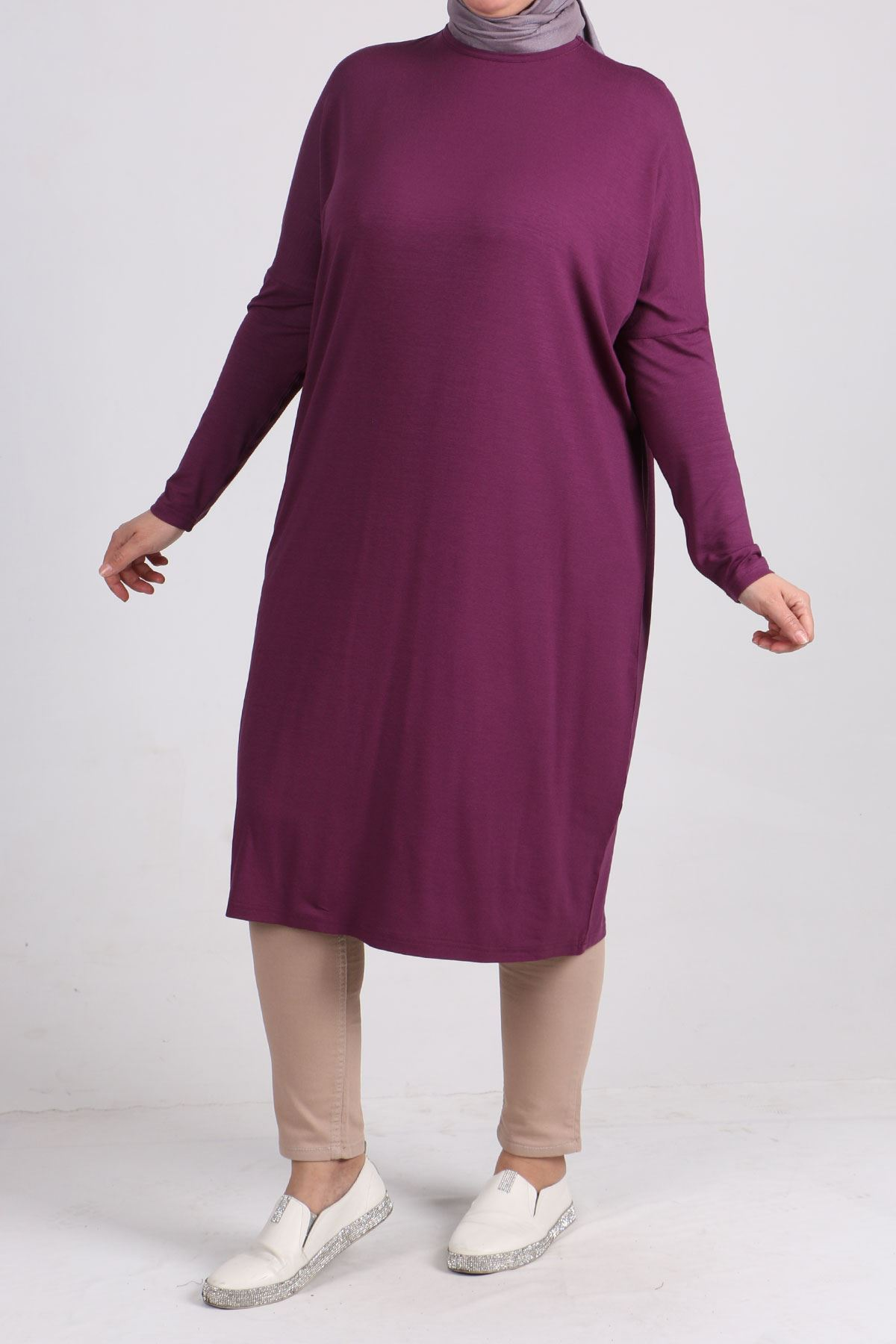 8240 Oversize tunic with low sleeves - Lilac