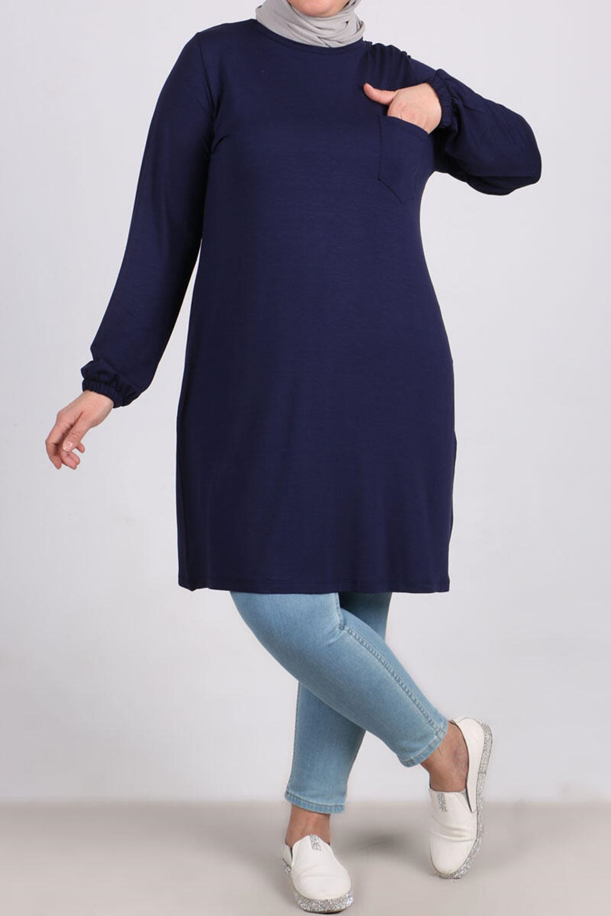 8252 Oversize Pocket Detailed Tunic- Navy Blue