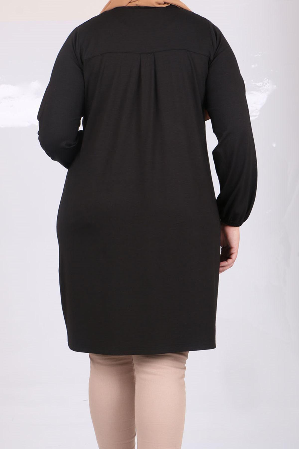 8252 Büyük Beden Cep Detaylı Penye Tunik-Siyah