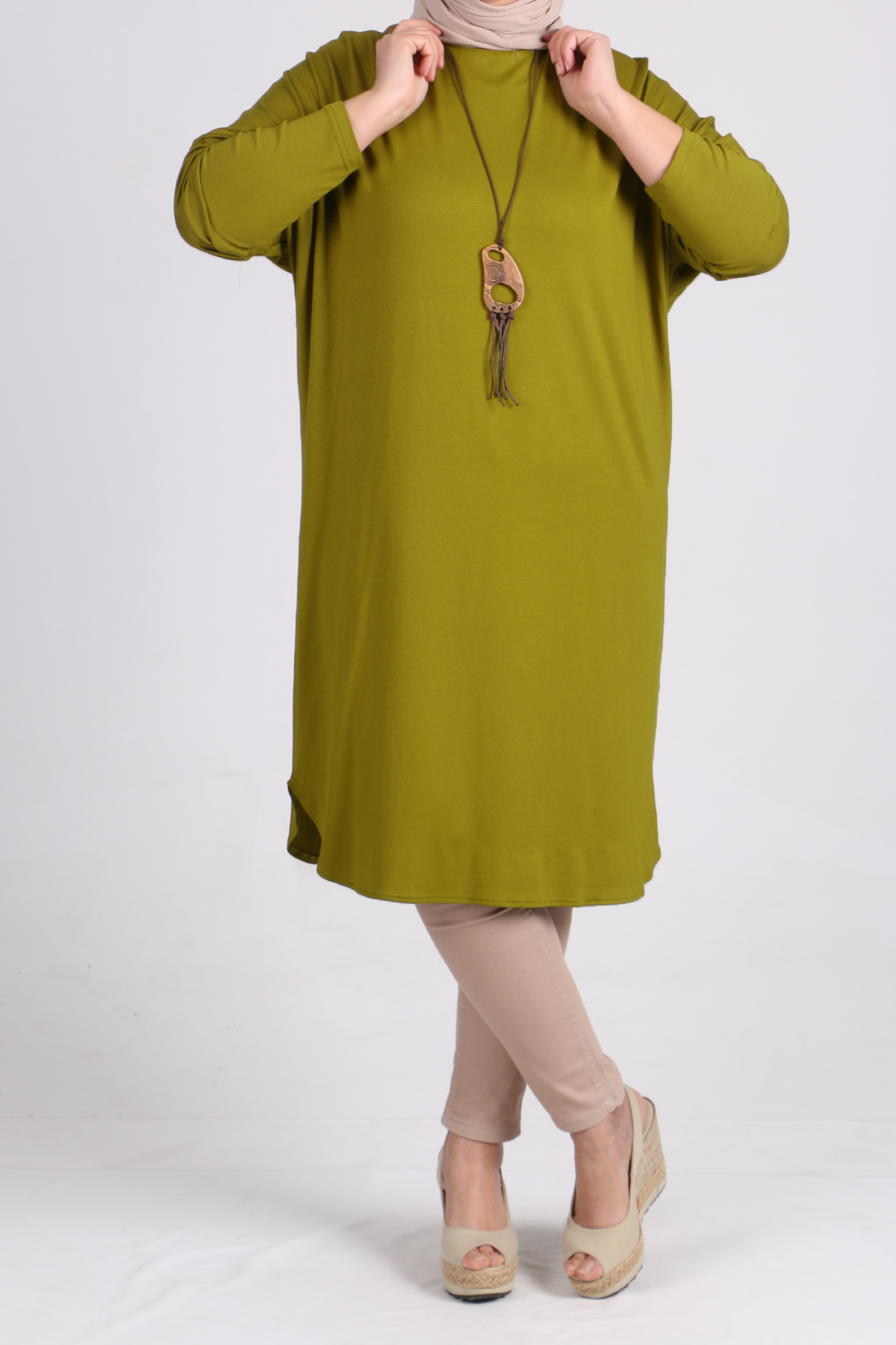 8455 Oversize with Low Sleeve Tunic - Olive Green