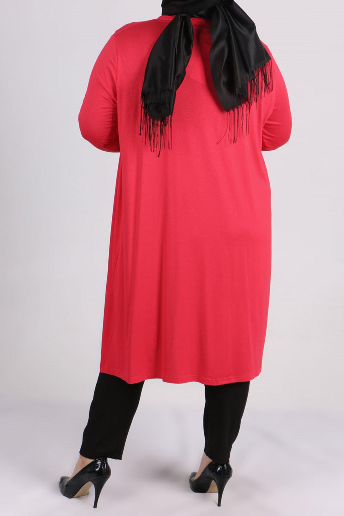 3013 Büyük Beden Penye Ceket - Kırmızı