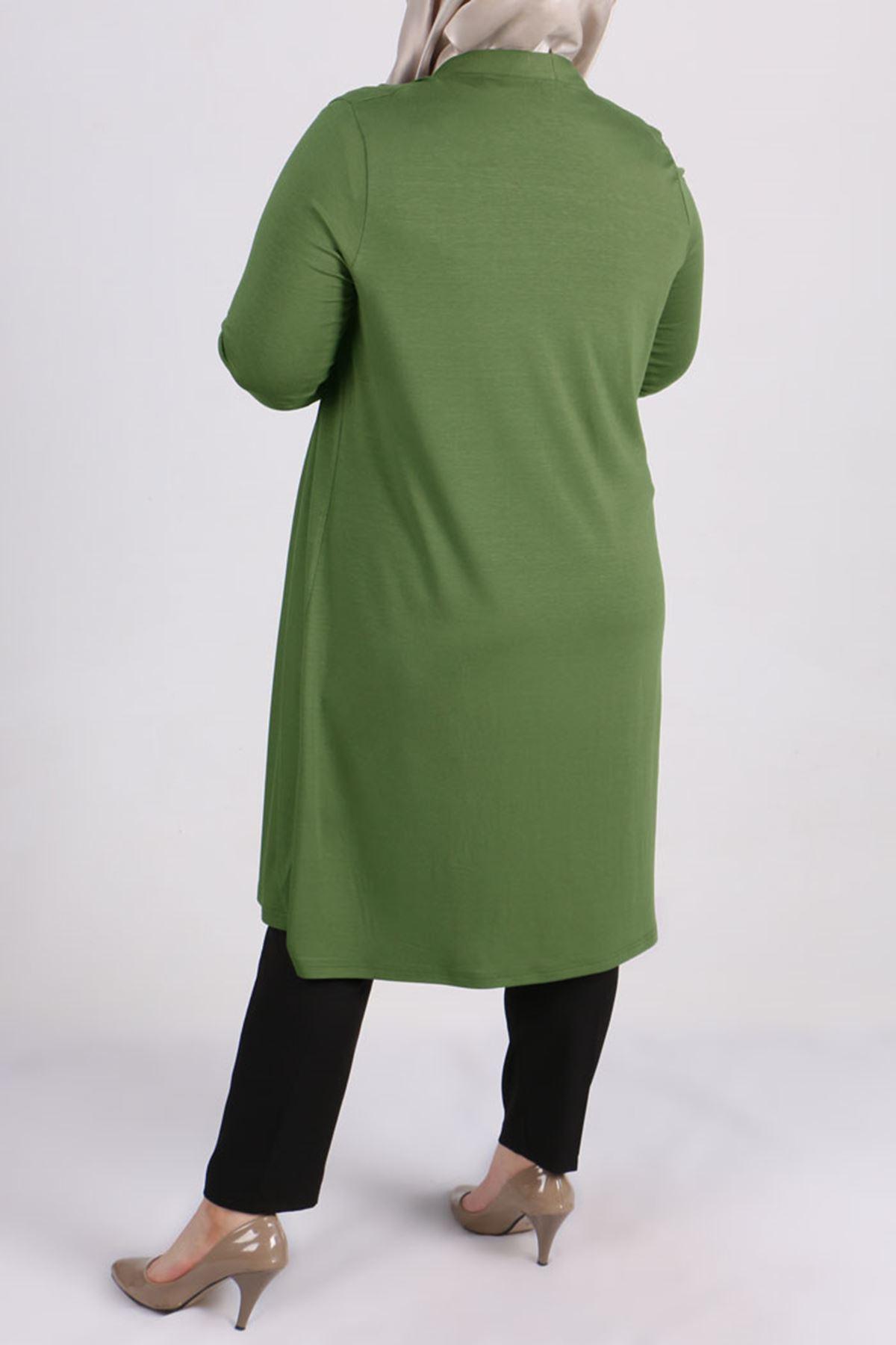 3013 Büyük Beden Penye Ceket - Yeşil