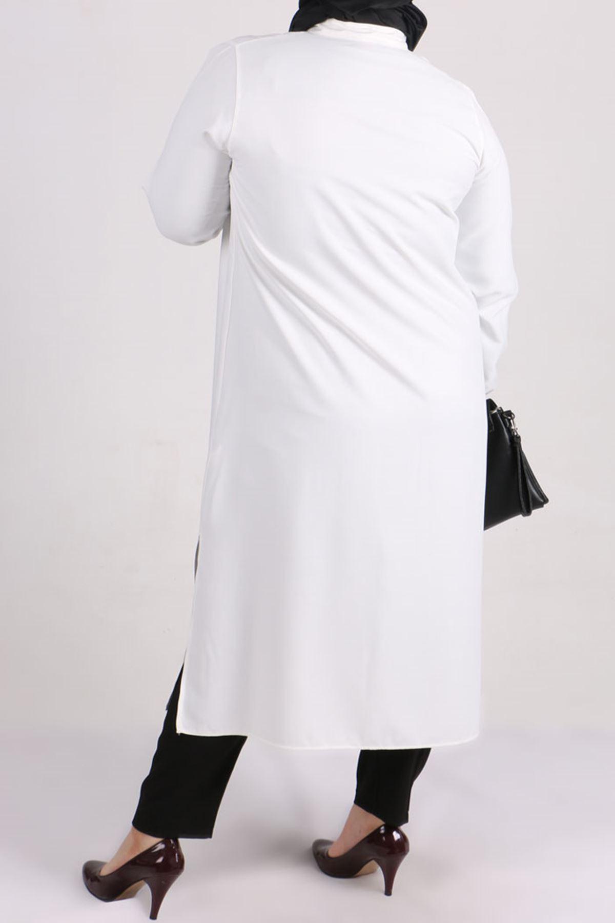 8457 Büyük Beden Verev Tunik-Beyaz