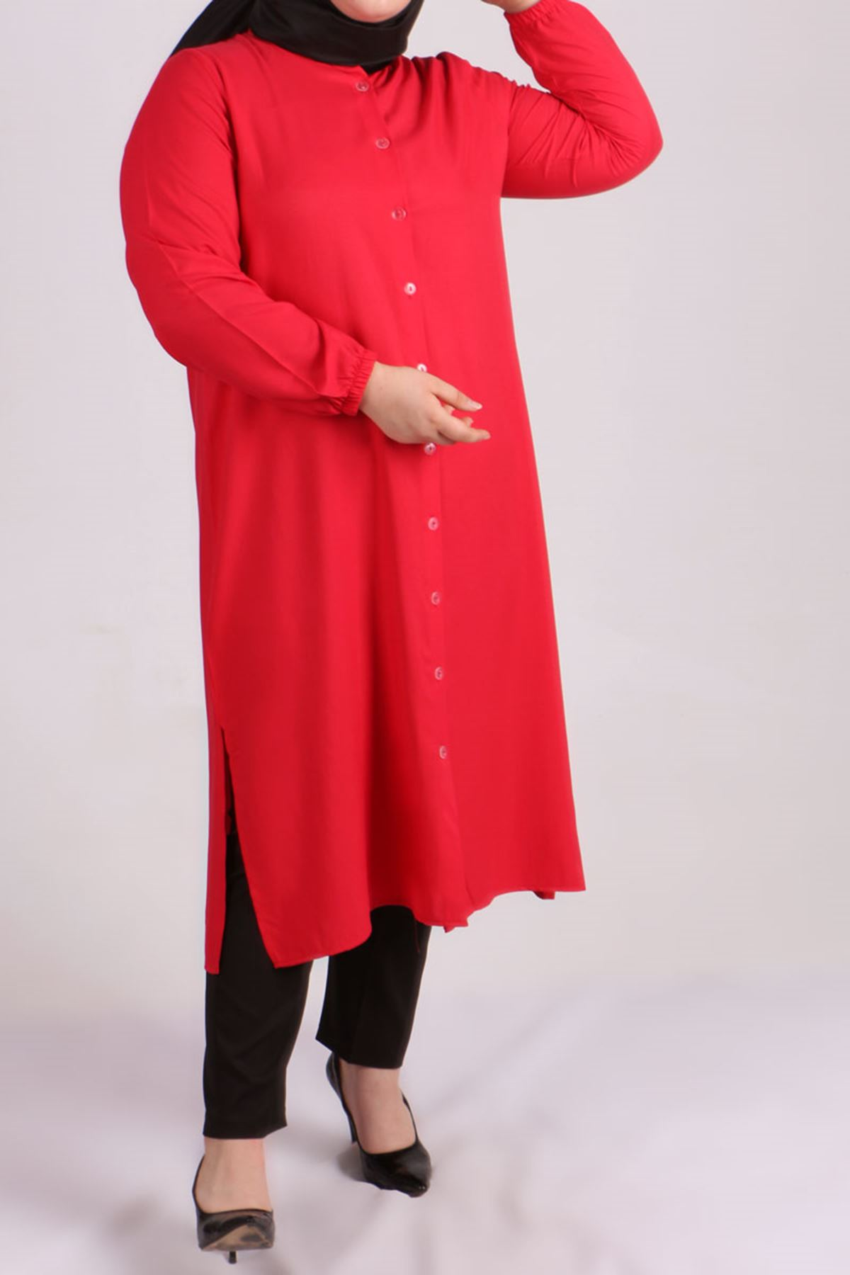 8457 Oversize Tunic- Red