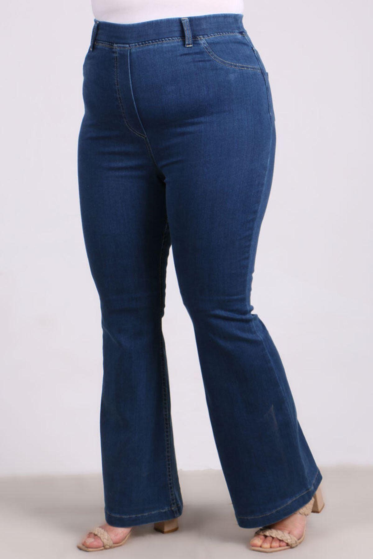 D-9137-1 Büyük Beden Defolu Beli Lastikli İspanyol Paça Kot Pantalon-Açık Mavi