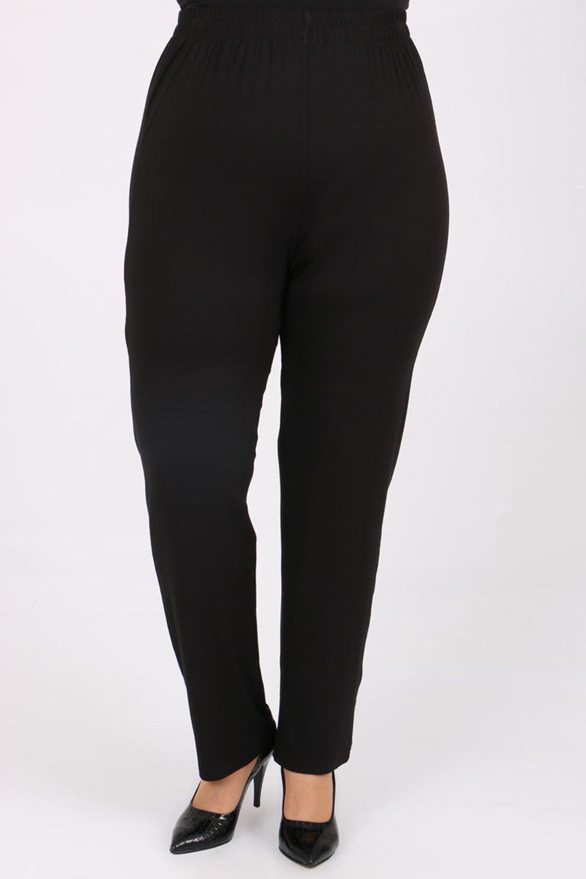 D-9057 Büyük Beden Defolu Yüksel Bel Lastikli Penye Pantalon - Siyah