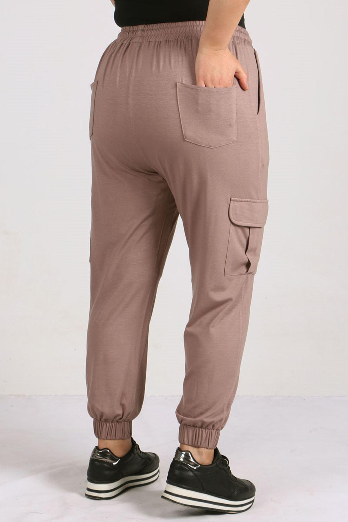 9150 Büyük Beden Lastikli Penye Pantolon - Vizon