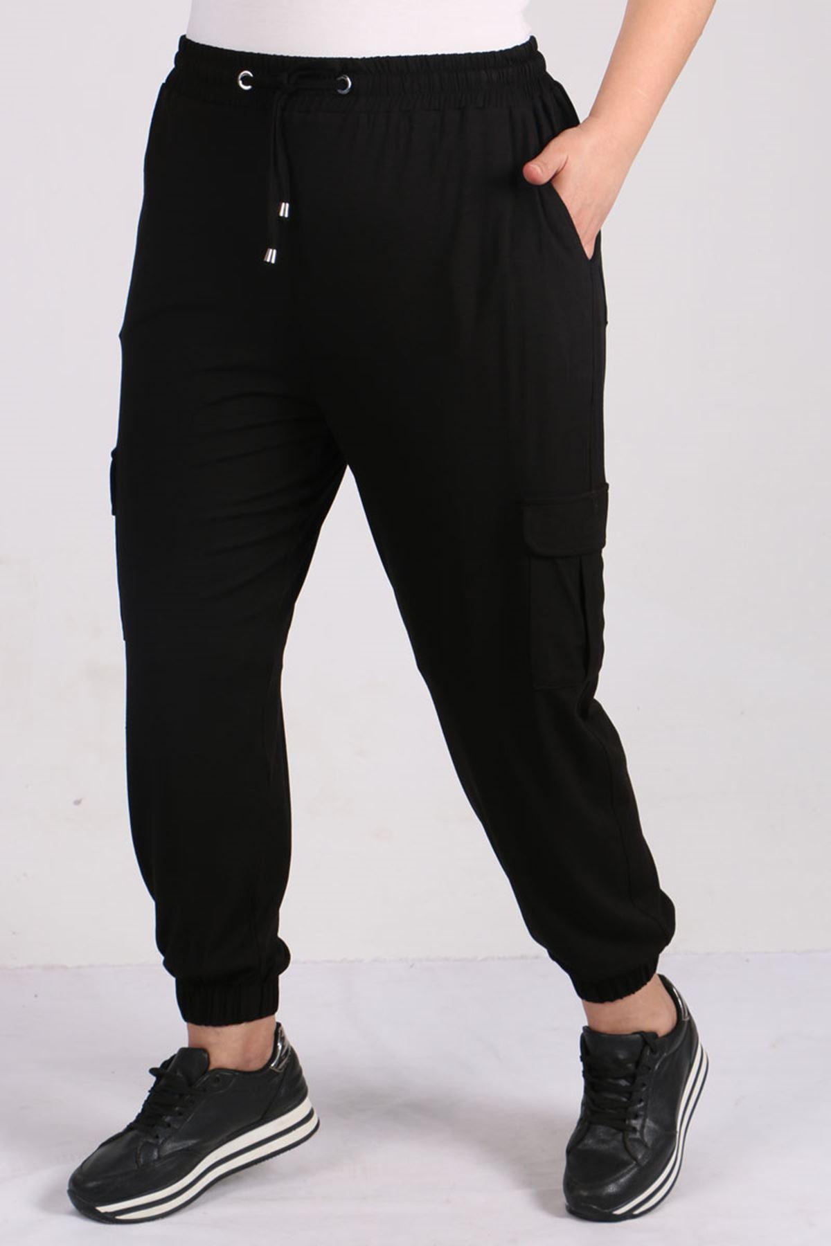 9150 Büyük Beden Lastikli Penye Pantolon - Siyah