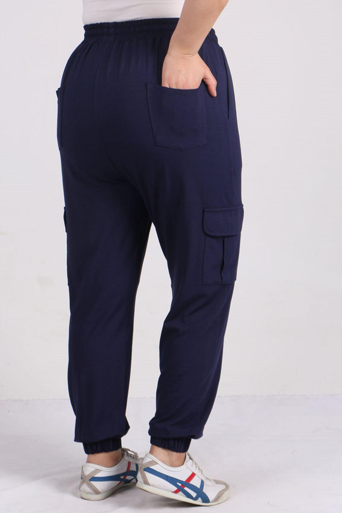 9150 Büyük Beden Lastikli Penye Pantolon - Lacivert