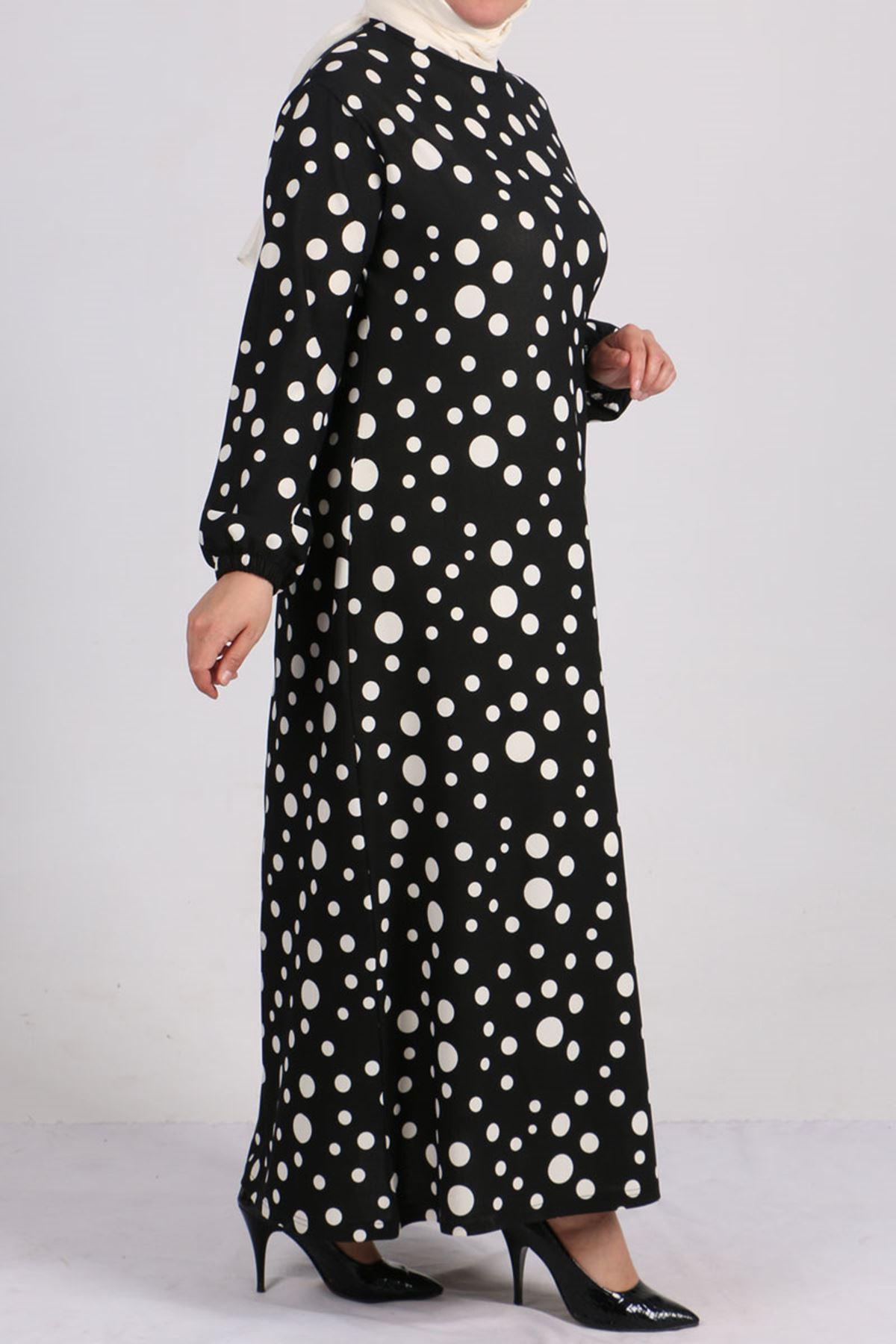 2093 Büyük Beden Örme Krep Kolu Lastikli Elbise - Siyah Puanlı