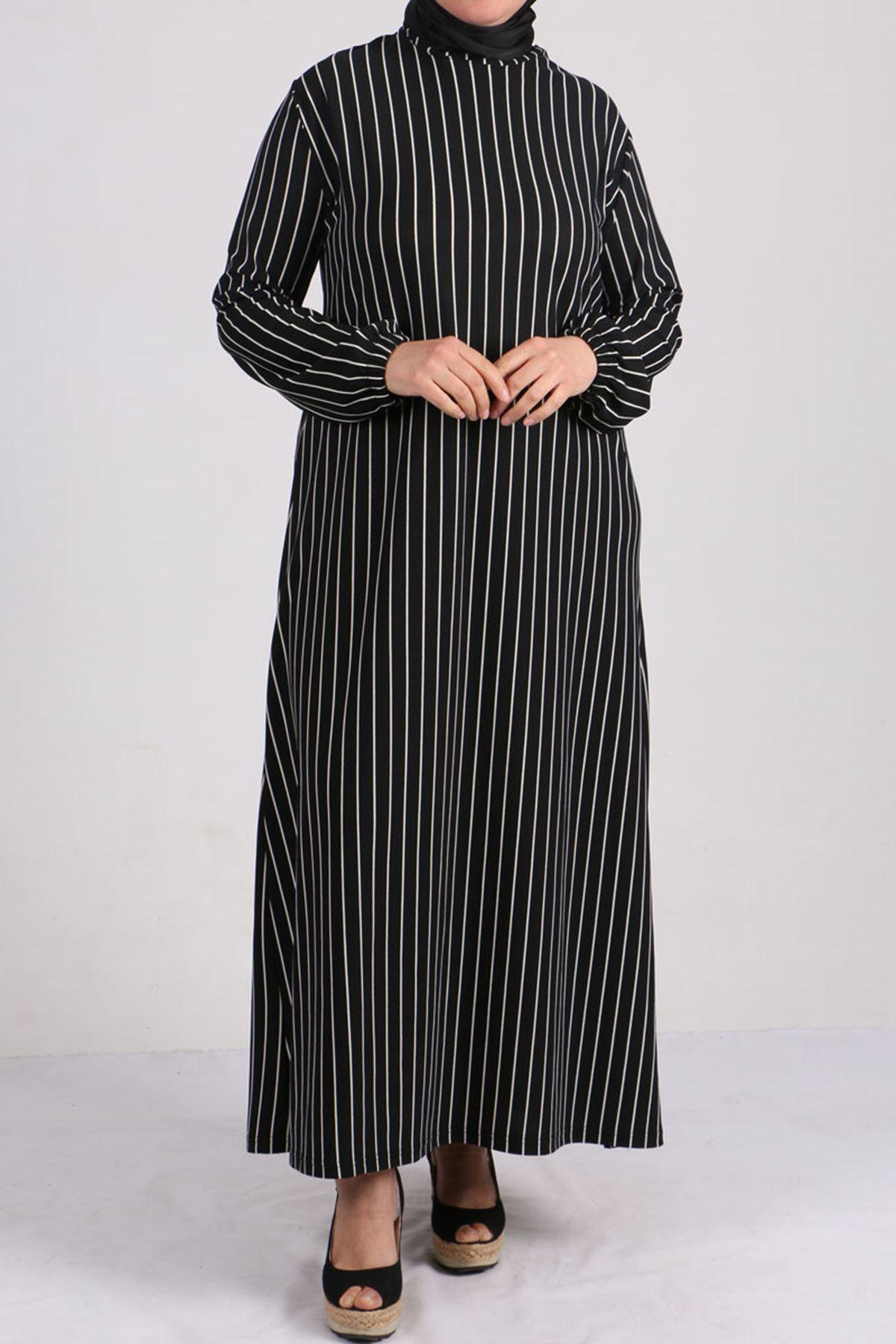 2093 Büyük Beden Örme Krep Kolu Lastikli Elbise - Siyah Çizgili