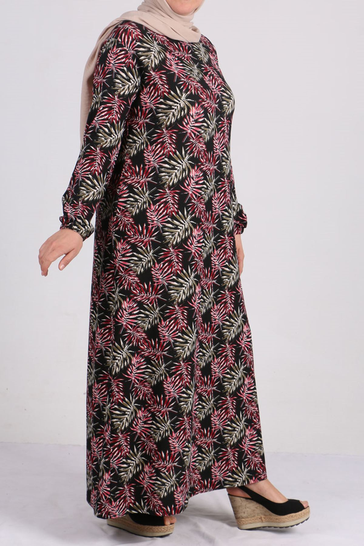 2093 Büyük Beden Örme Krep Kolu Lastikli Elbise - Bordo Yapraklı