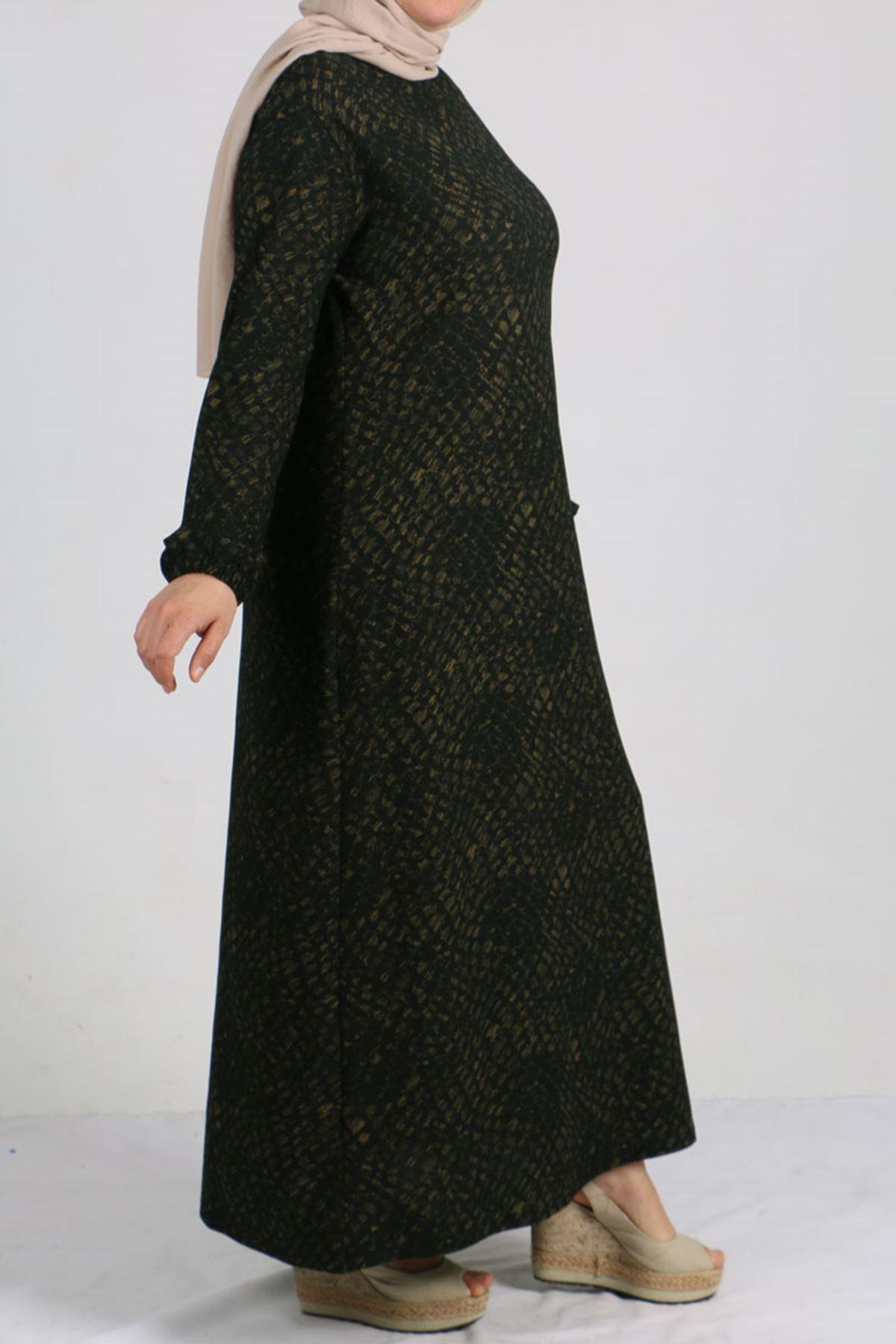 2093 Büyük Beden Örme Krep Kolu Lastikli Elbise - Baskılı Haki