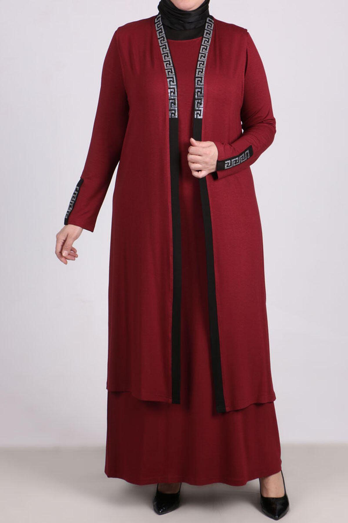 D-17211 Büyük Beden Defolu Taş Baskılı Penye Elbise-Bordo