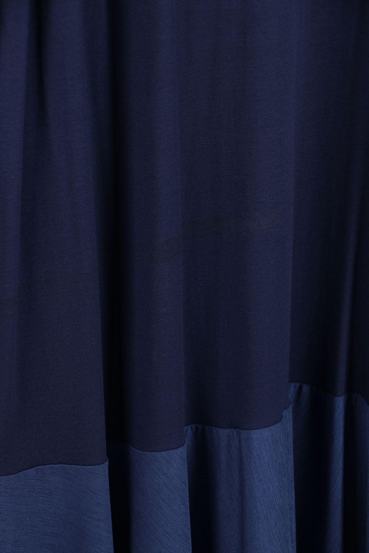 D-2085 Büyük Beden Kumaş Kombinli Defolu Penye Elbise-İndigo