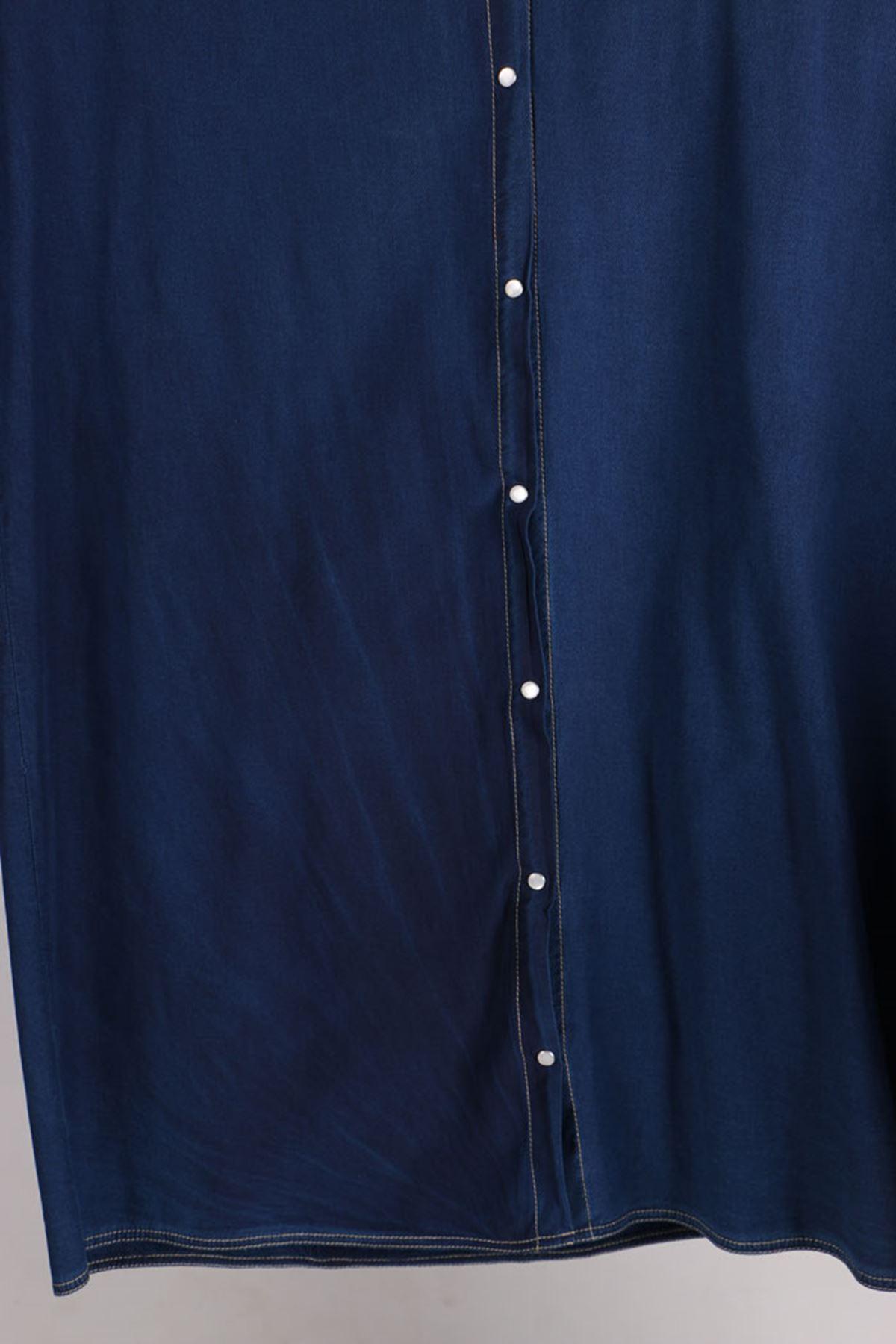 D-3148 Büyük Beden Defolu Çıtçıtlı Kapüşonlu Kot Ceket - Mavi