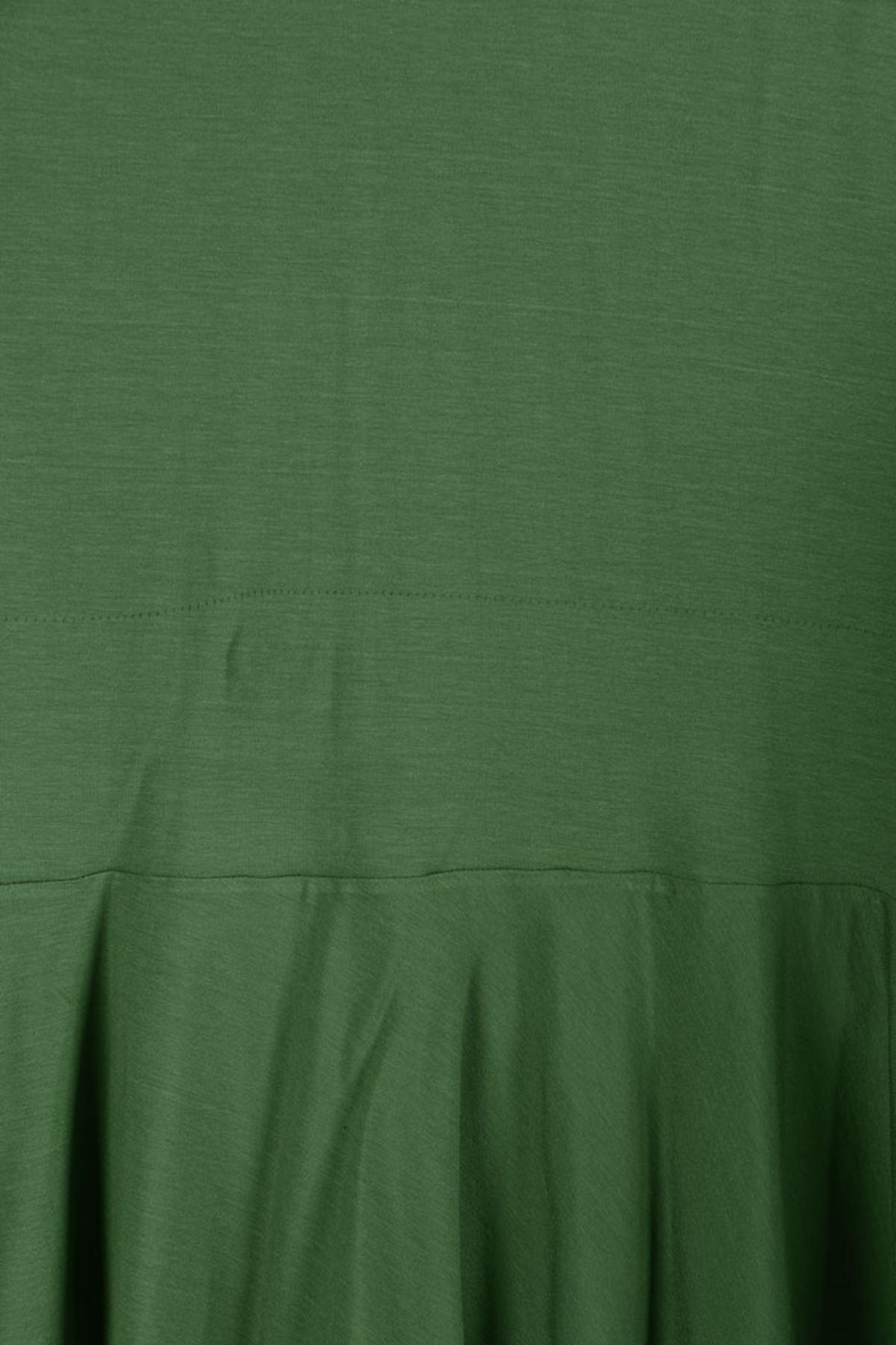 D-3153 Büyük Beden Defolu Volanlı Penye Ceket - Yeşil