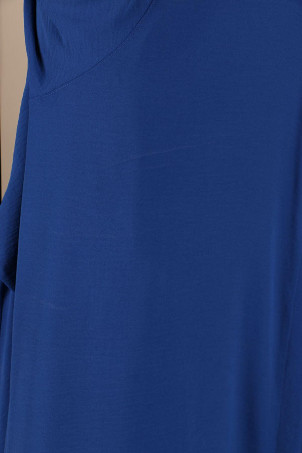D-8225 Büyük Beden Defolu Gizli Düğmeli Airobin Mevlana Gömlek -Saks