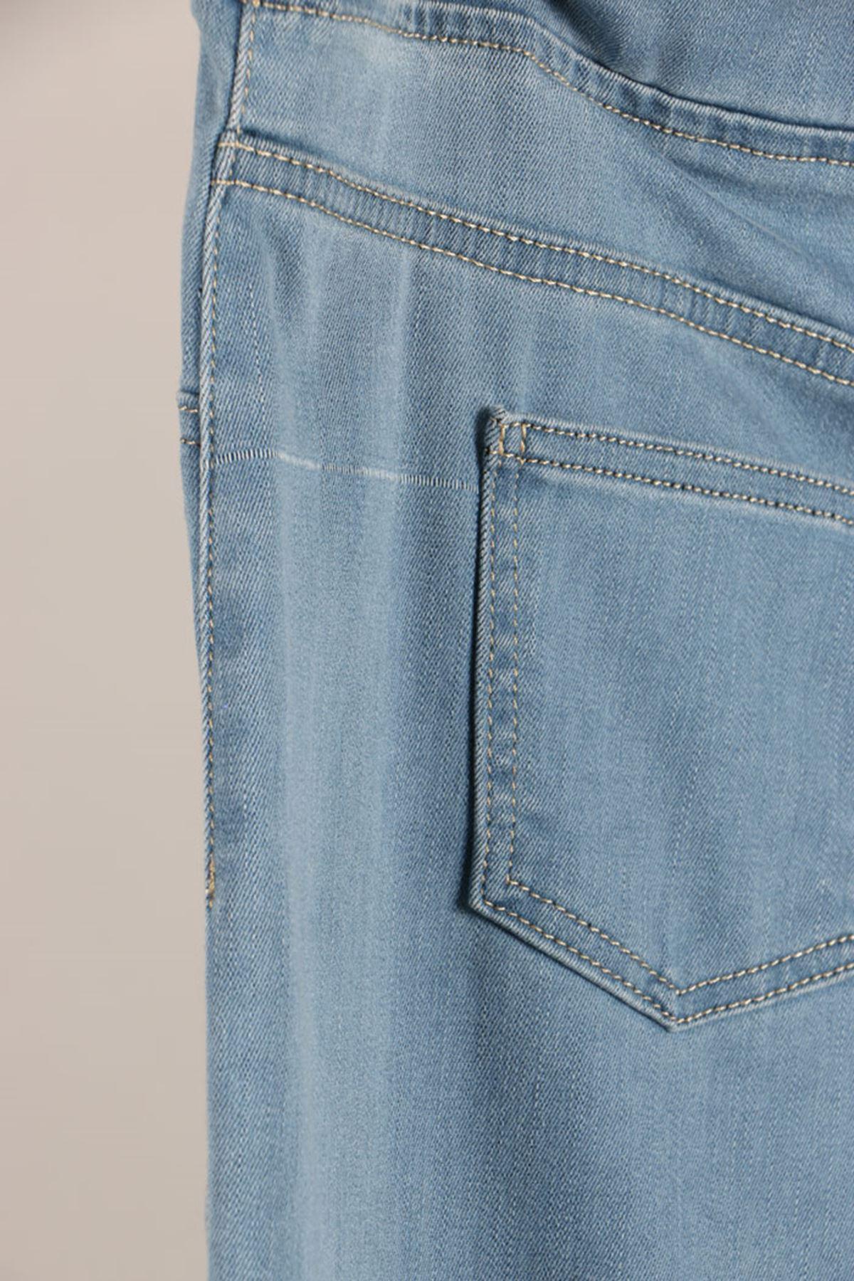 D-9139 Büyük Beden Defolu Beli Lastikli Dar Paça Kot Pantalon-Buz Mavi