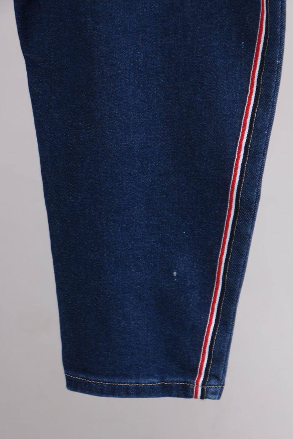D-9116-3 Büyük Beden Defolu Taşlanmış Şeritli Dar Paça Kot Pantalon-Lacivert