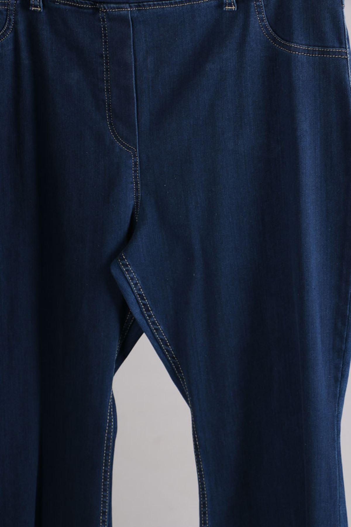 D-9137-2 Büyük Beden Defolu Beli Lastikli İspanyol Paça Kot Pantalon-Açık Mavi