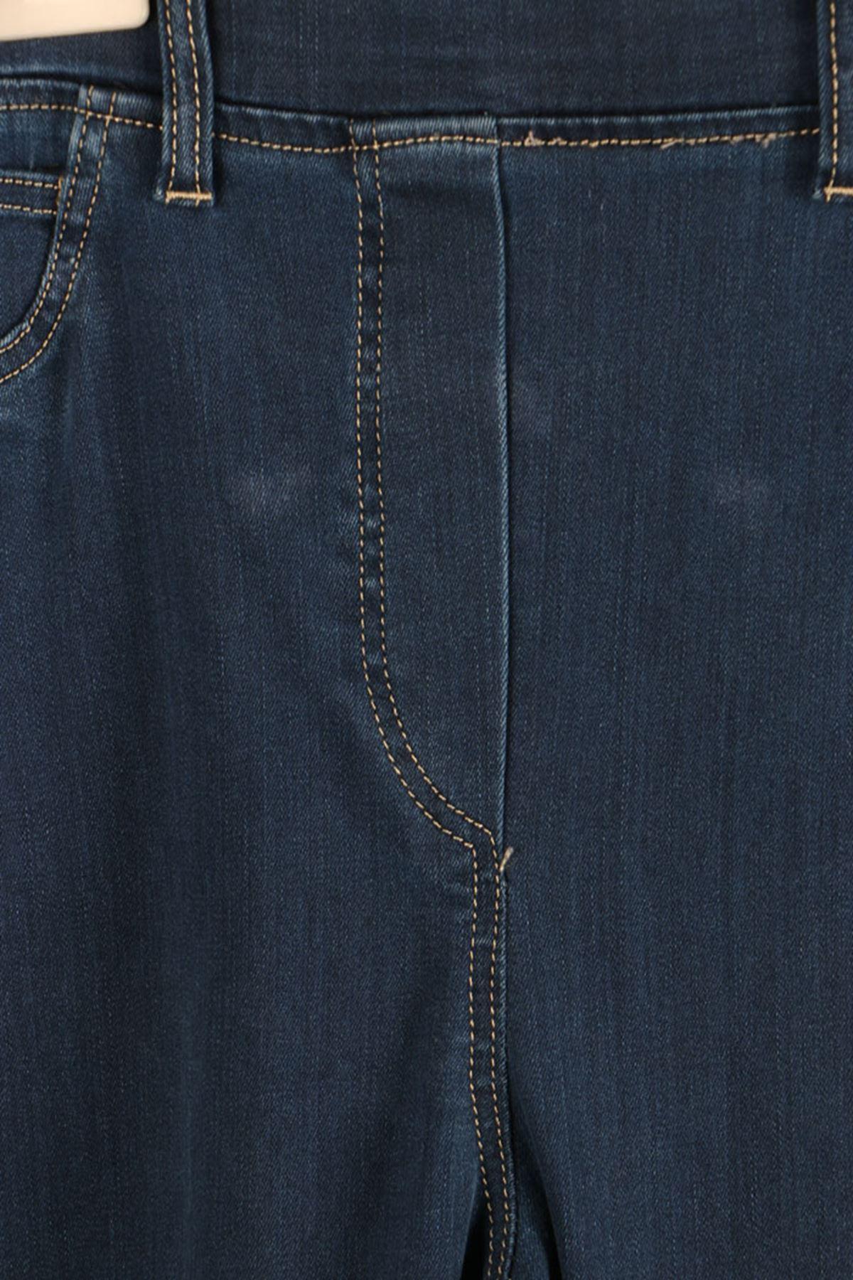 D-9137-3 Büyük Beden Defolu Beli Lastikli İspanyol Paça Kot Pantalon-Açık Mavi