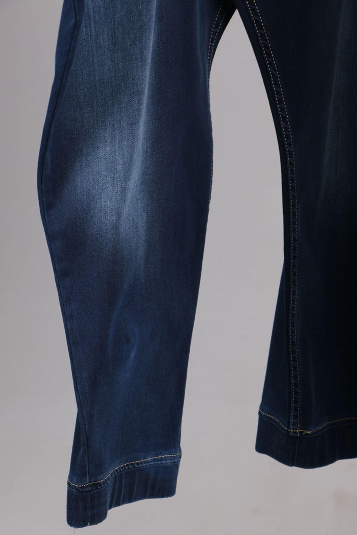 D-9139-2 Büyük Beden Defolu Beli Lastikli Taşlanmış Dar Paça Kot Pantalon-Lacivert