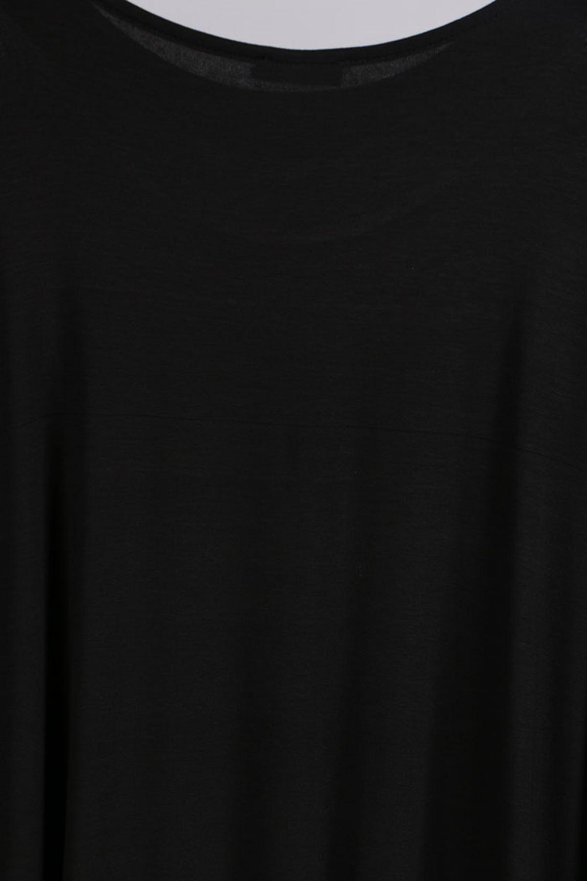 D-17211 Büyük Beden Defolu Taş Baskılı Penye Elbise- Siyah