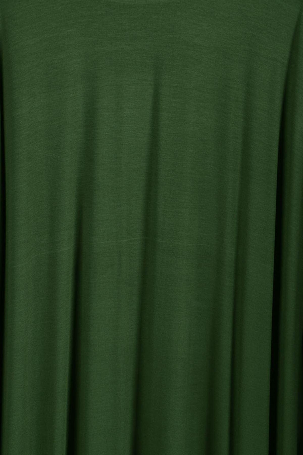 D-17211 Büyük Beden Defolu Taş Baskılı Penye Elbise - Haki