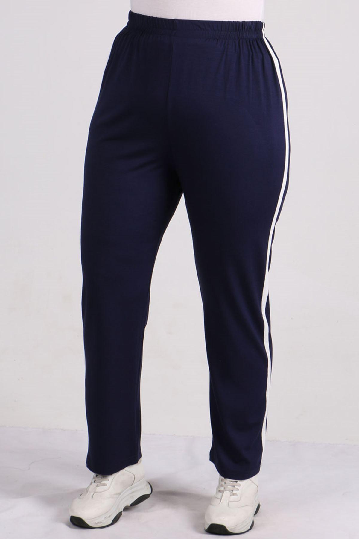 7689 Büyük Beden Şeritli Penye Pantalonlu Takım - Lacivert