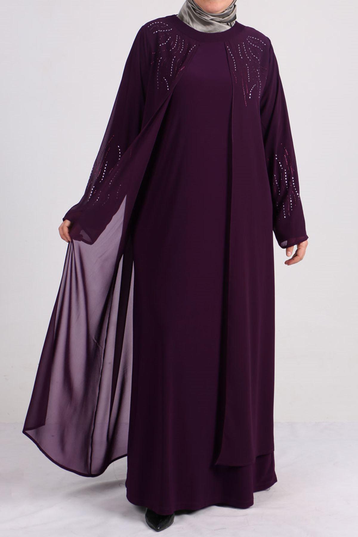 2086 Büyük Beden Sandy-Şifon Taş Baskılı Abiye Elbise - Mor