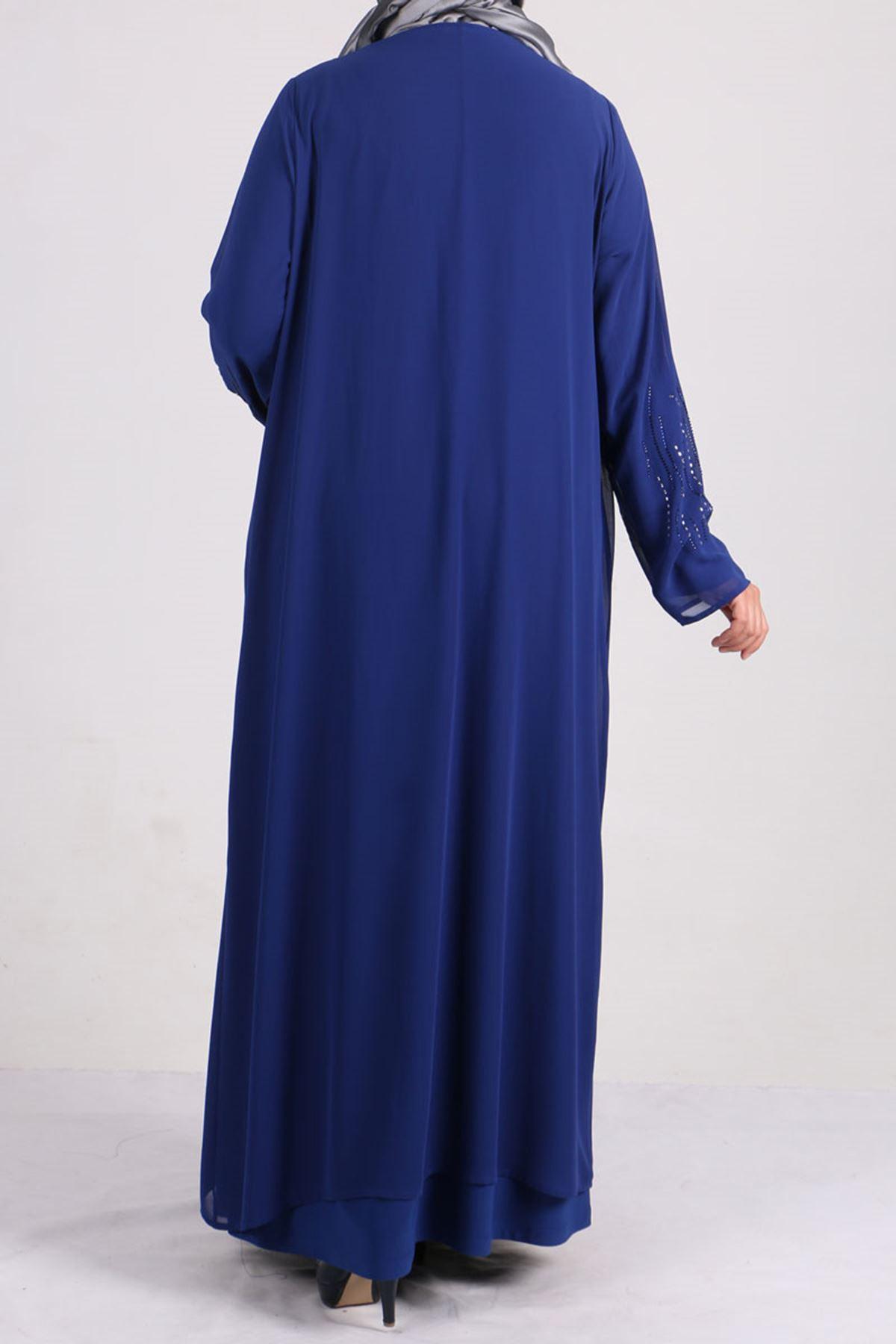 2086 Büyük Beden Sandy-Şifon Taş Baskılı Abiye Elbise - Saks