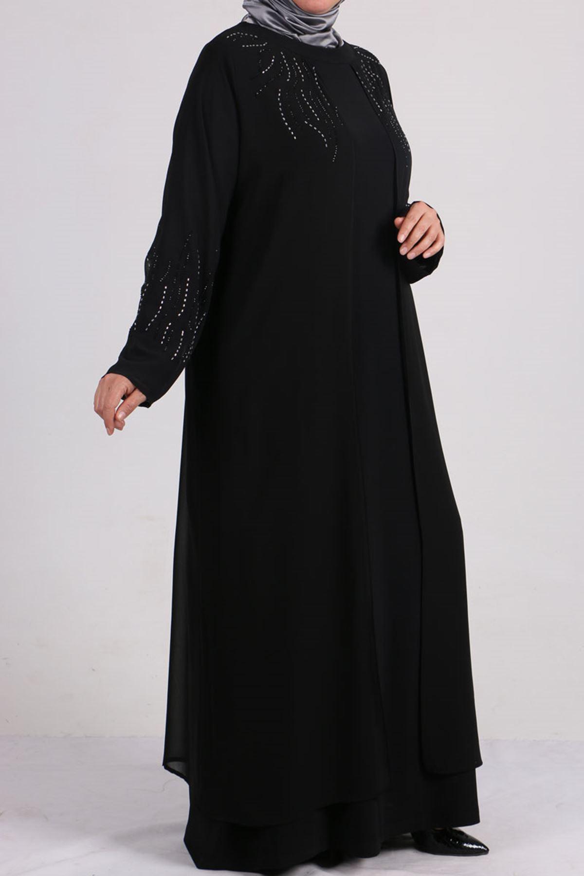 2086 Büyük Beden Sandy-Şifon Taş Baskılı Abiye Elbise - Siyah