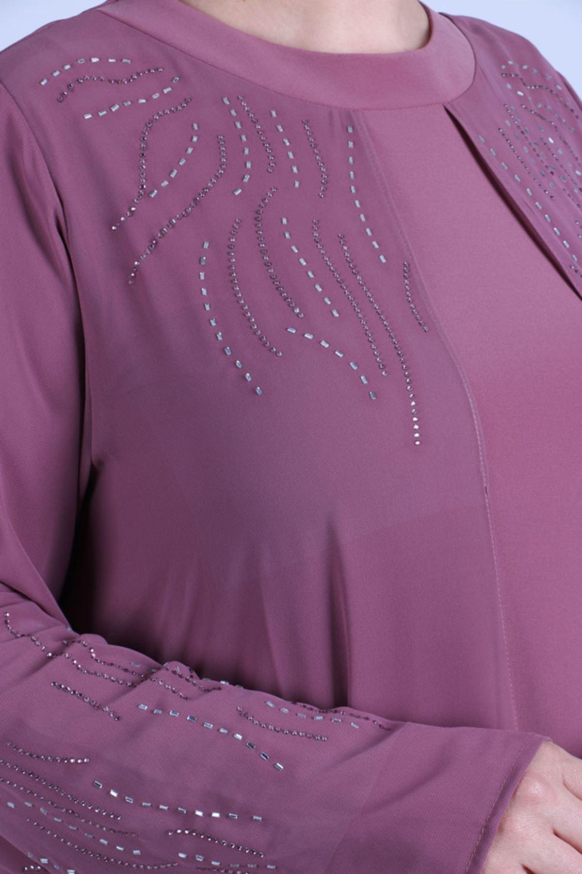 D-2086 Büyük Beden Defolu Sandy-Şifon Taş Baskılı Abiye Elbise - Gül Kurusu