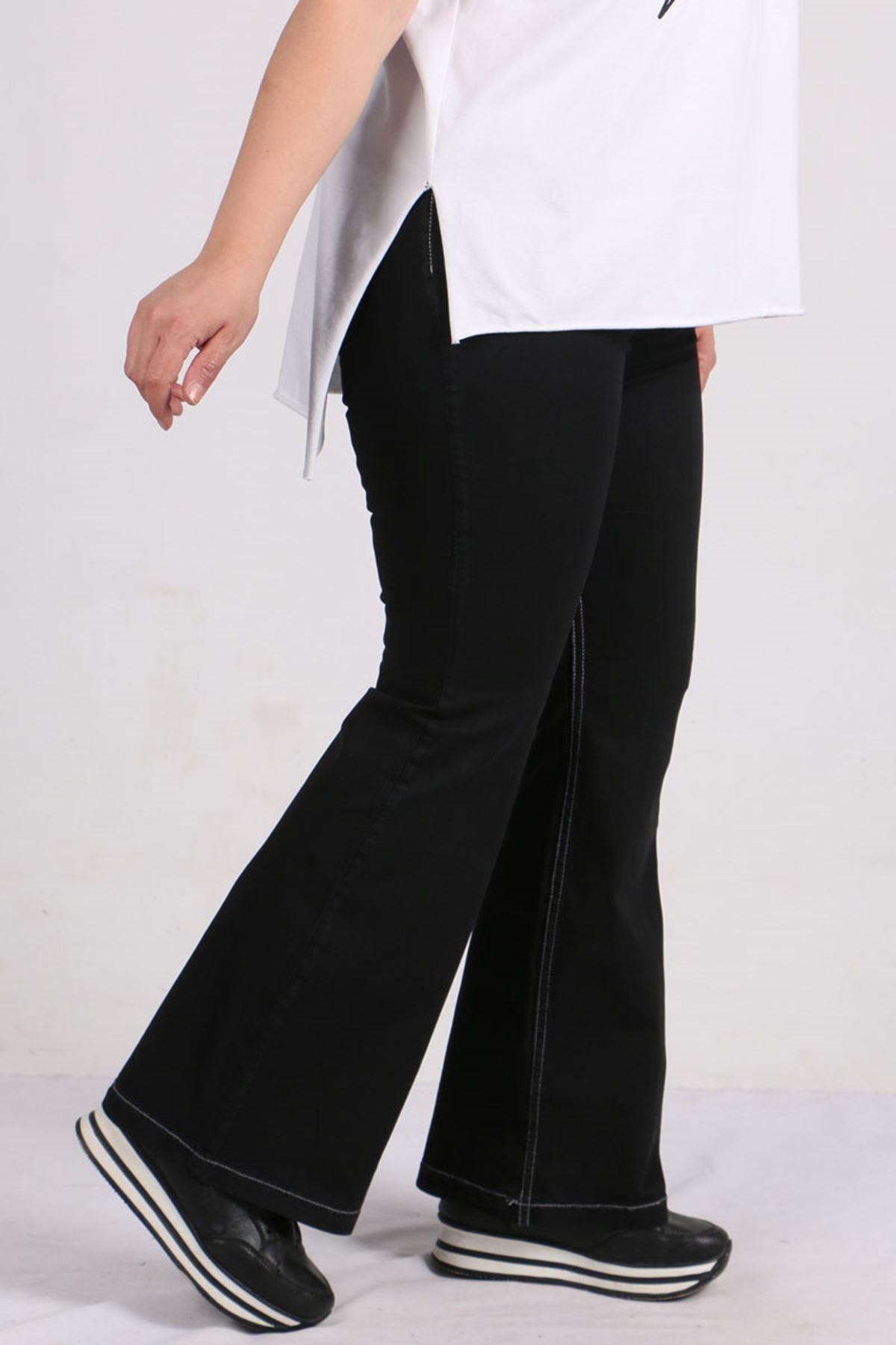9143 Büyük Beden Beli Lastikli İspanyol Paça Gabardin Pantolon - Siyah