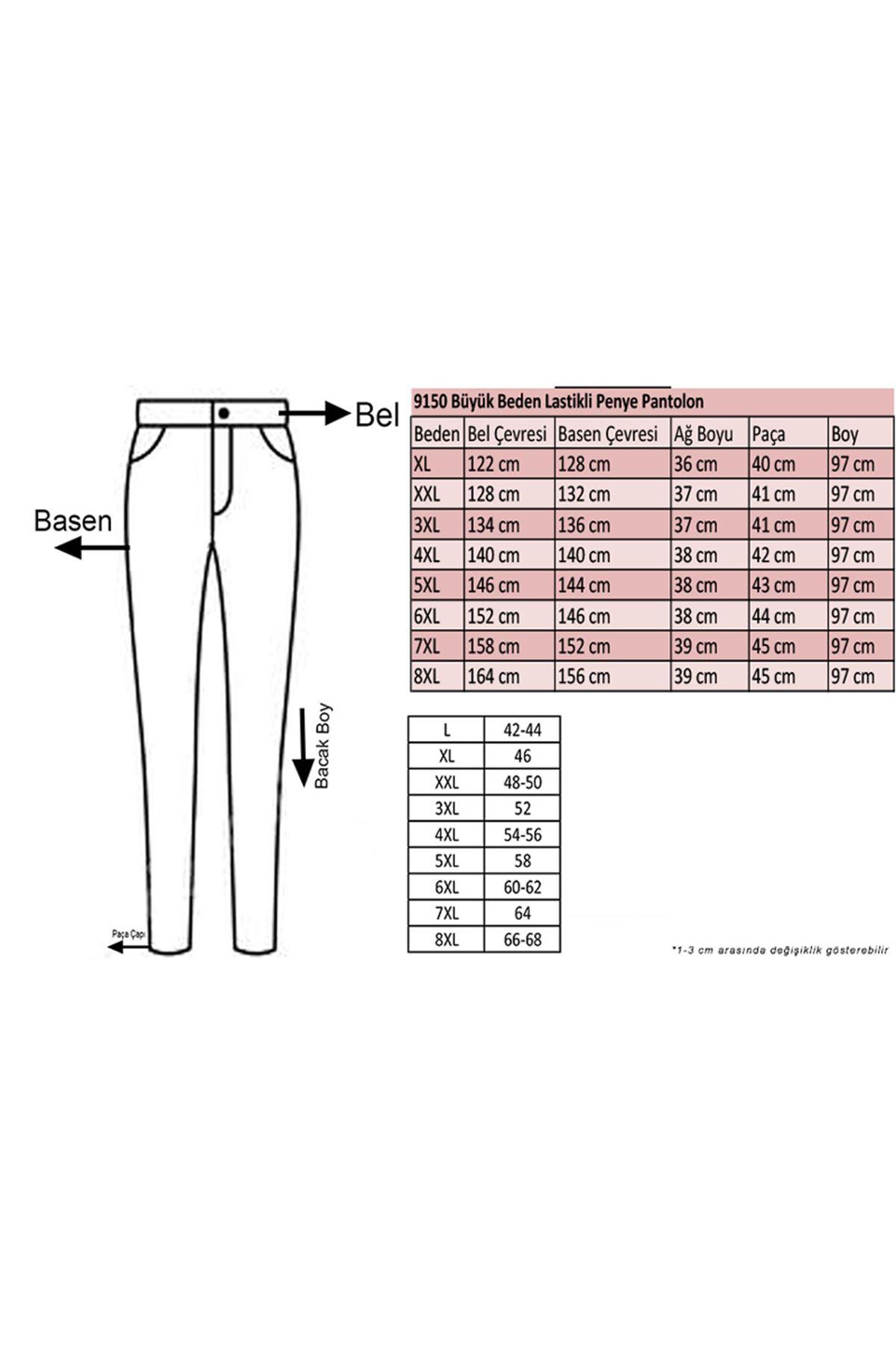 9150 Büyük Beden Lastikli Penye Pantolon - Haki
