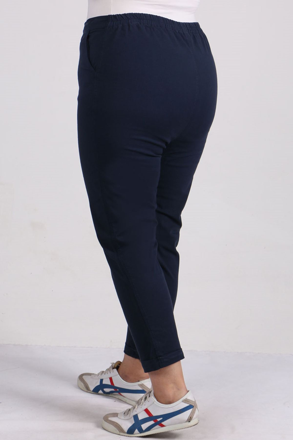 9114 Büyük Beden Duble Paça Gabardin Pantolon - Lacivert