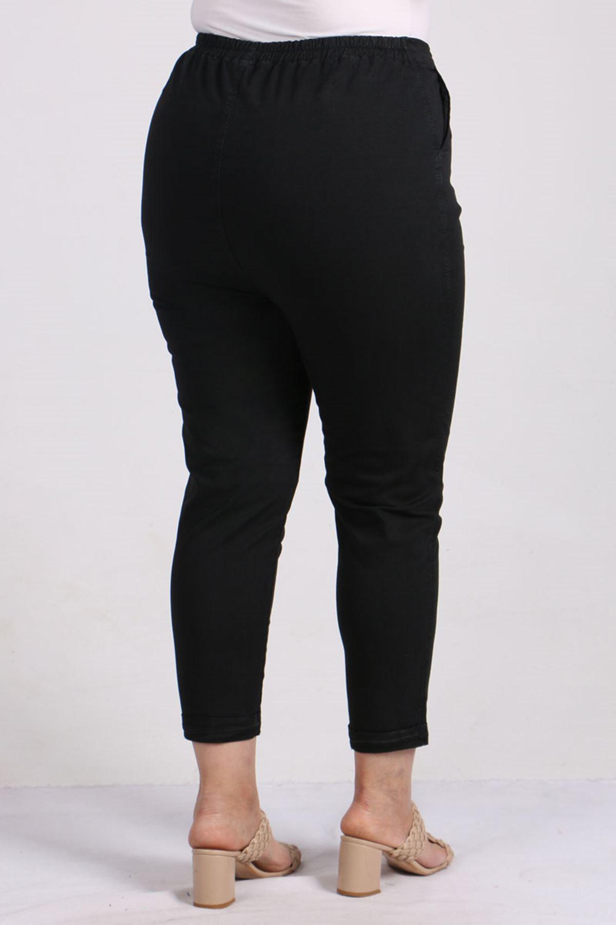 9114 Büyük Beden Duble Paça Gabardin Pantolon - Siyah