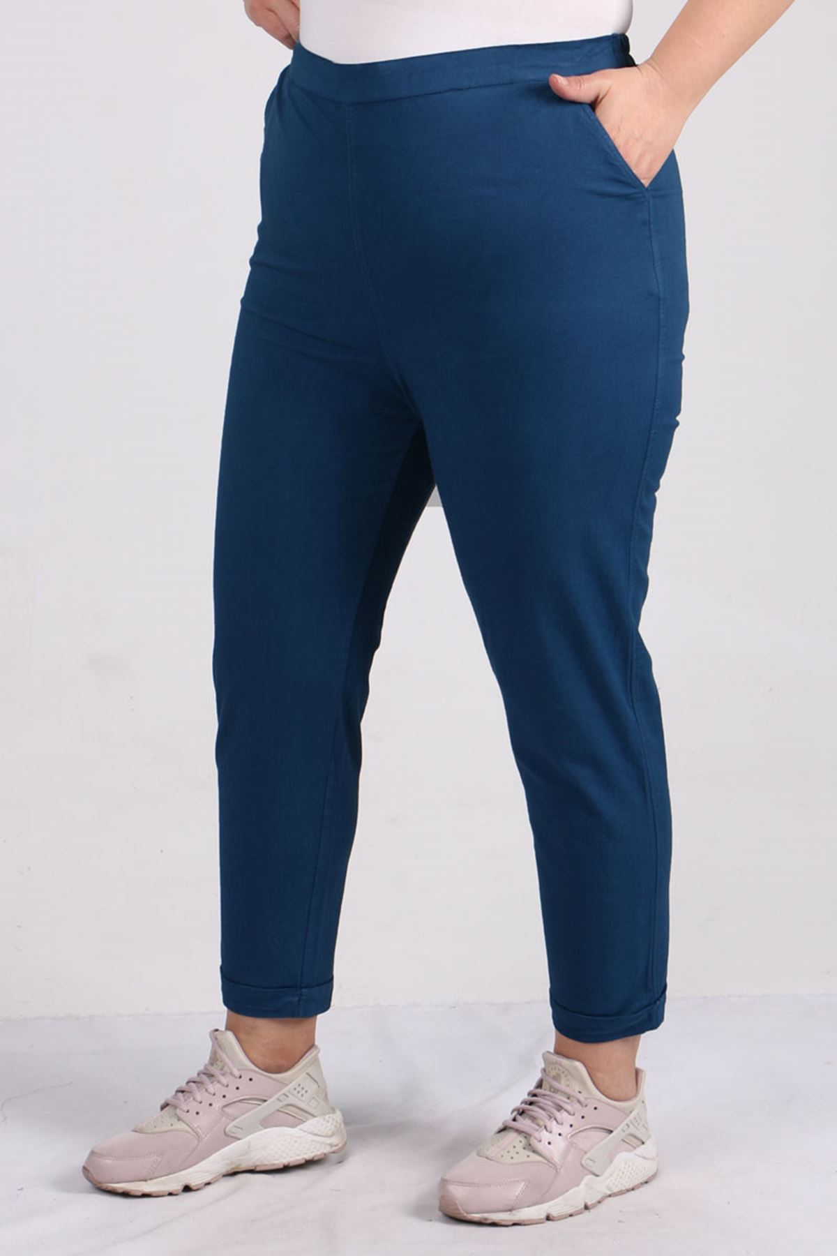 9114 Büyük Beden Duble Paça Gabardin Pantolon - İndigo