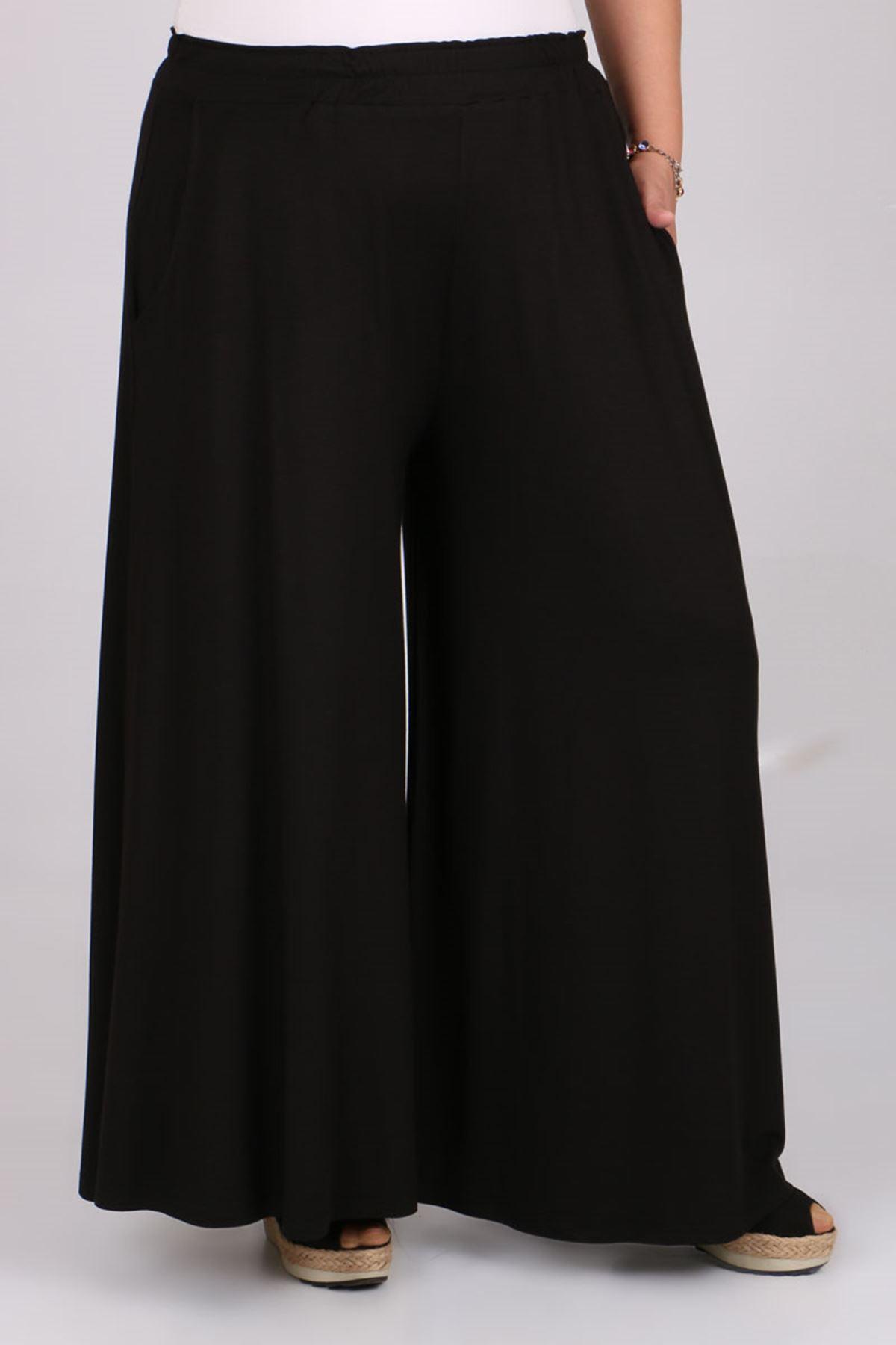 D-9079-2 Büyük Beden Defolu Penye Geniş Paça Pantolon - Siyah