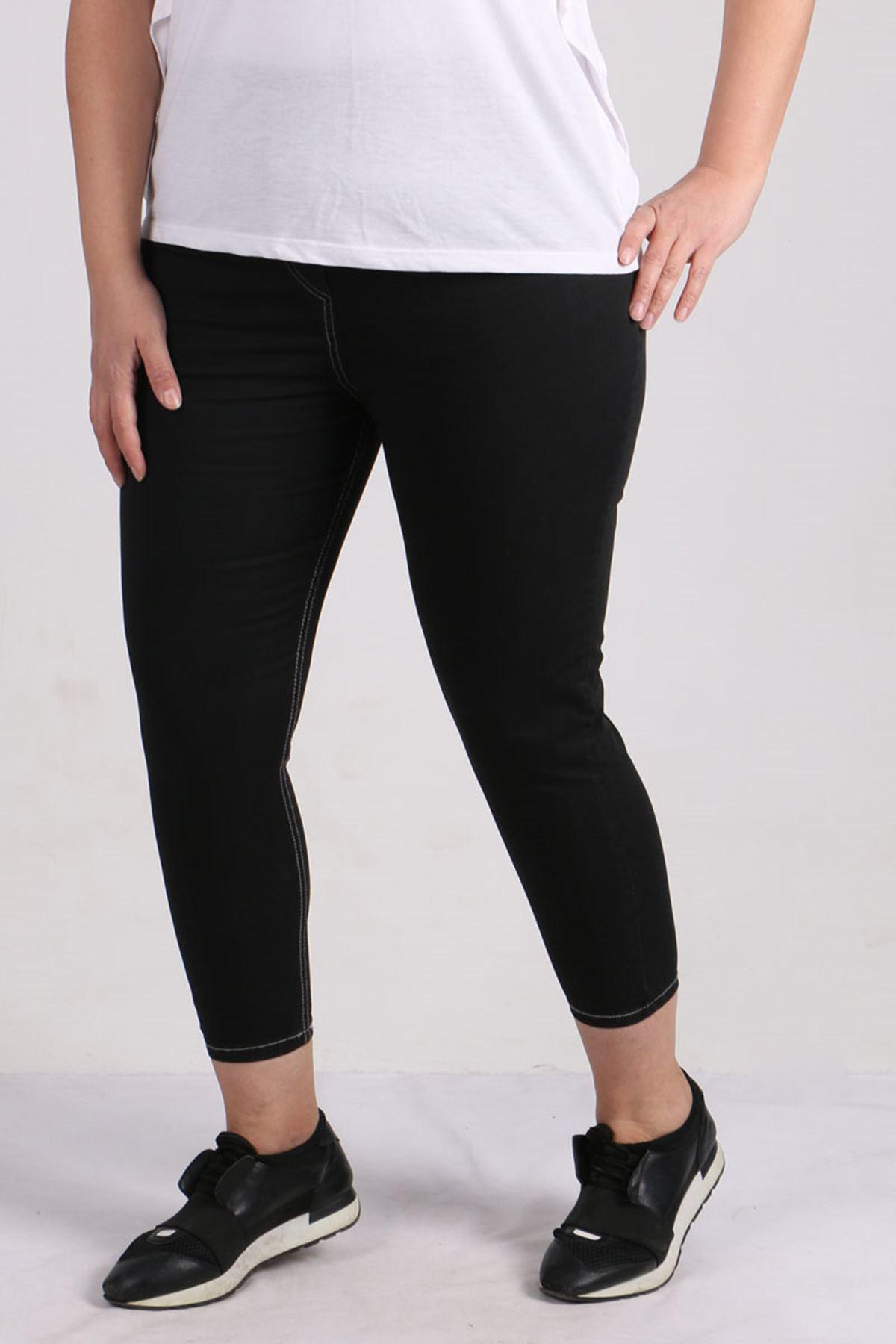 9122-1 Büyük Beden Beli Lastikli Dar Paça Gabardin Pantolon - Siyah
