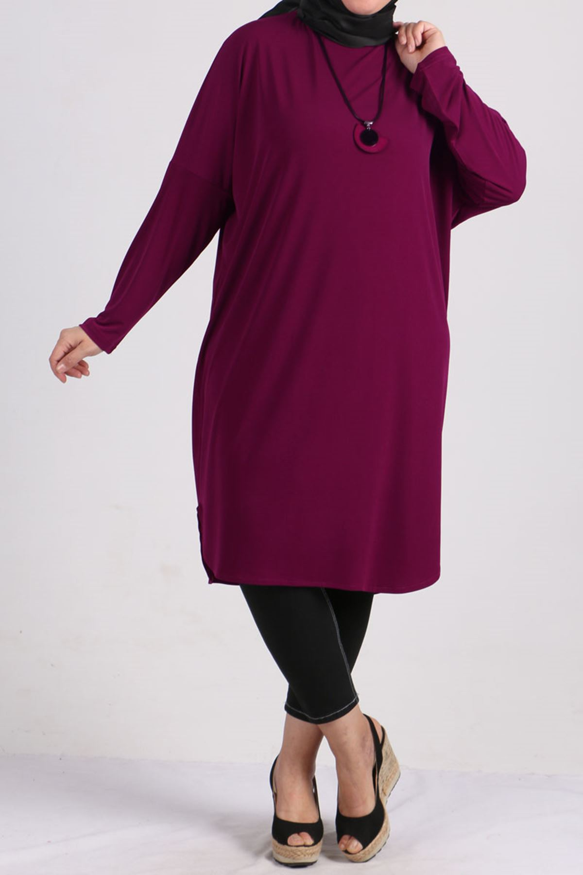 8459 Oversize with Low Sleeve Tunic - Plum